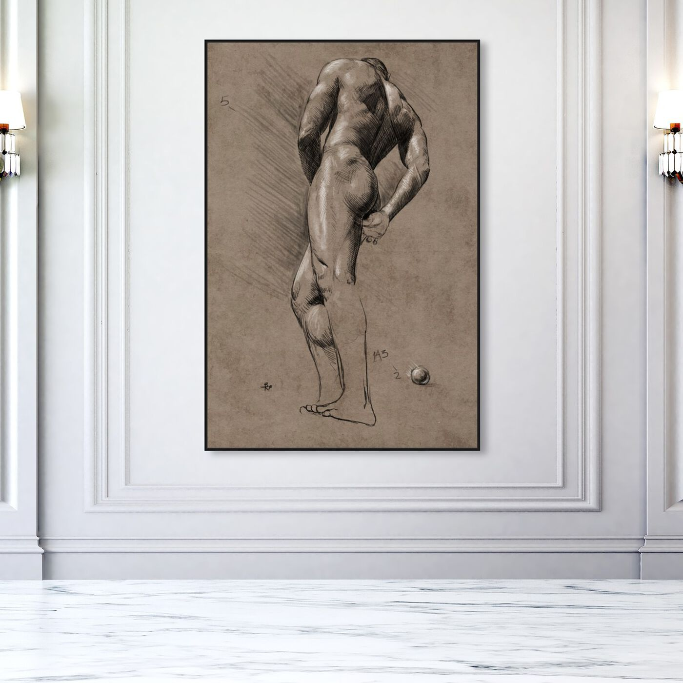 Hanging view of Male Figure Study featuring people and portraits and nudes art.