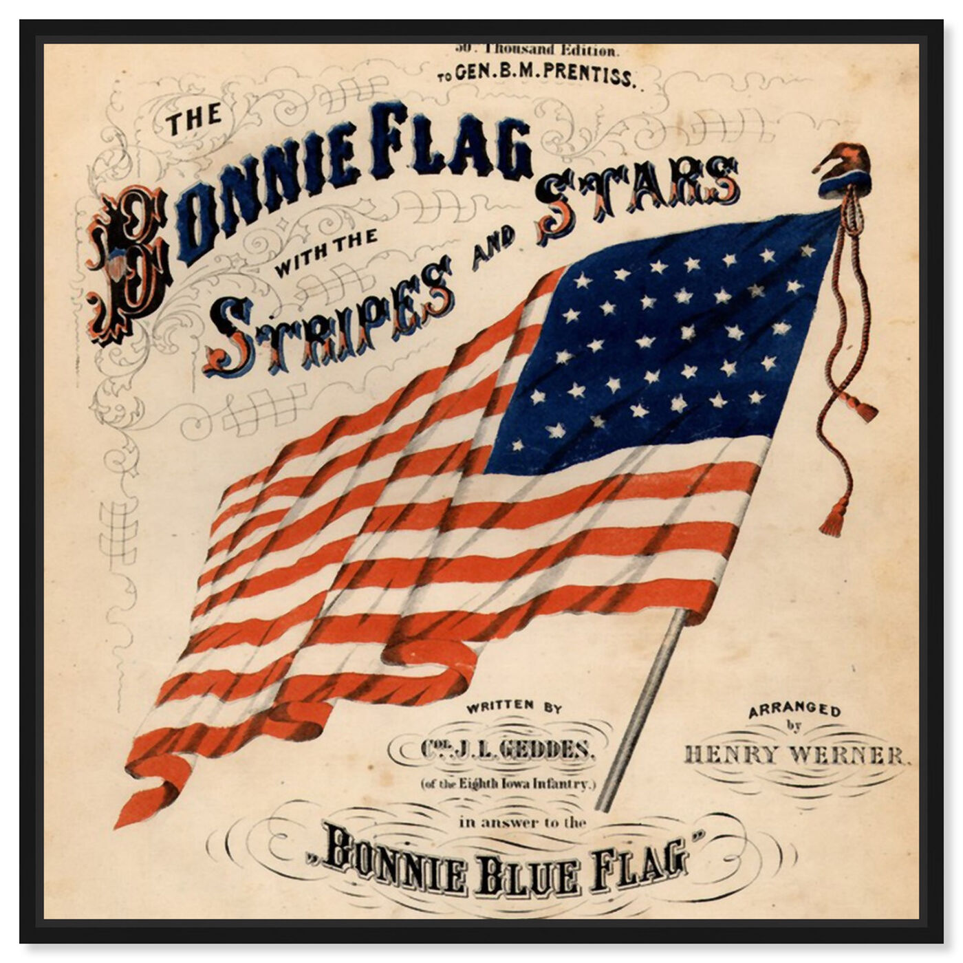 Front view of Bonnie Flag featuring americana and patriotic and us flags art.