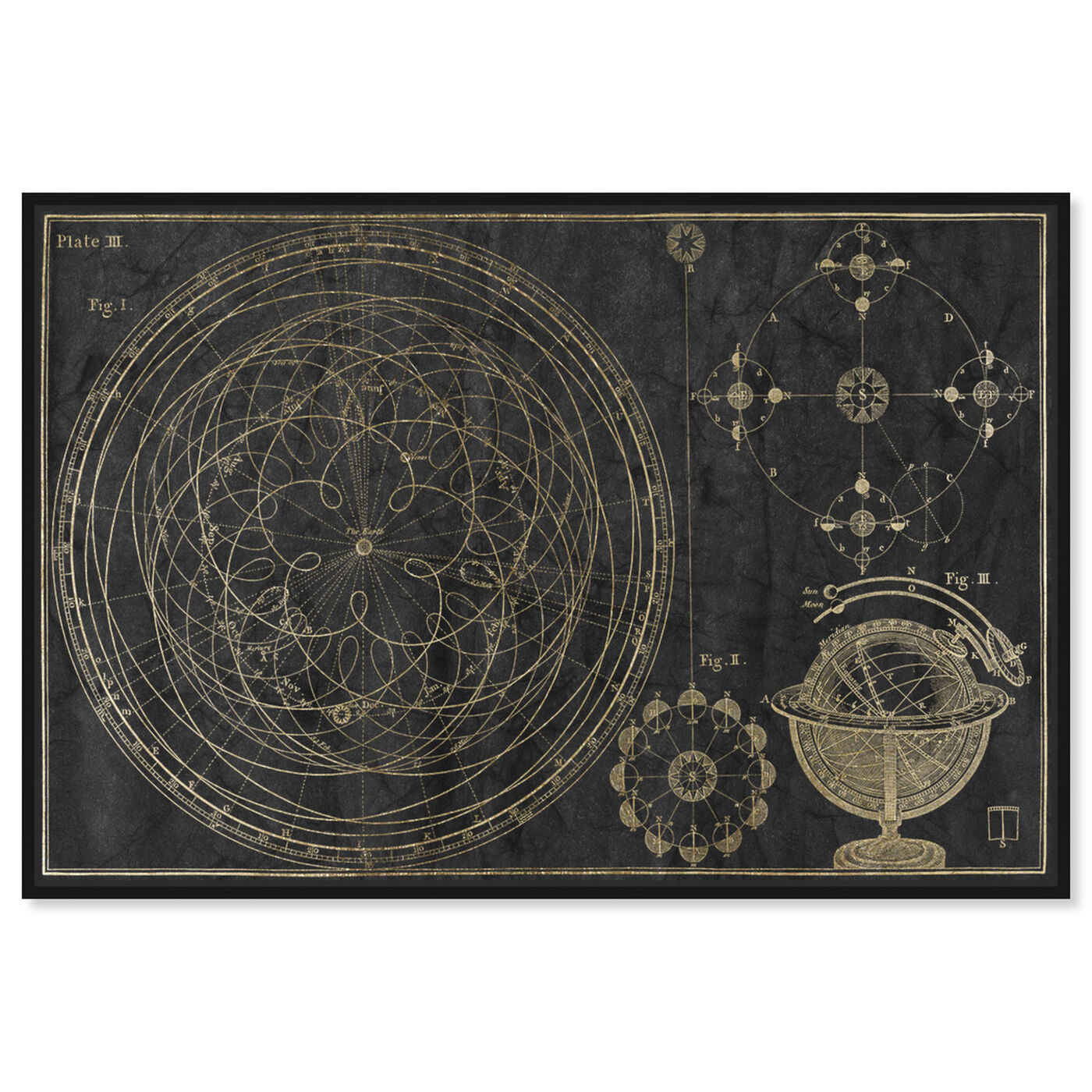 Front view of Floreali Astronomic Plate featuring astronomy and space and telescopes art.