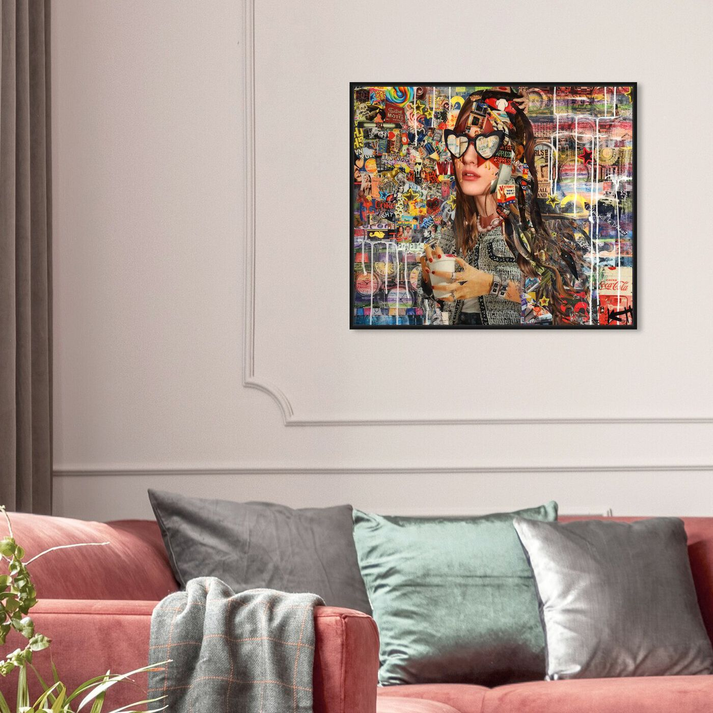 Hanging view of Katy Hirschfeld - Heart Eyes featuring fashion and glam and portraits art.