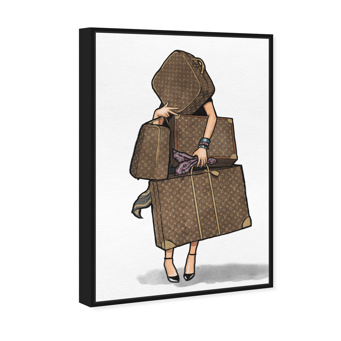 Angled view of Bags Bags Bags - Purple II featuring fashion and glam and travel essentials art.