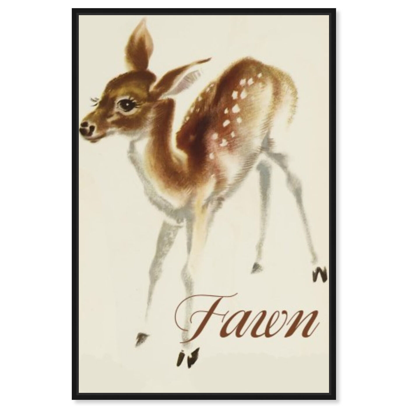 Front view of Fawn featuring animals and baby animals art.