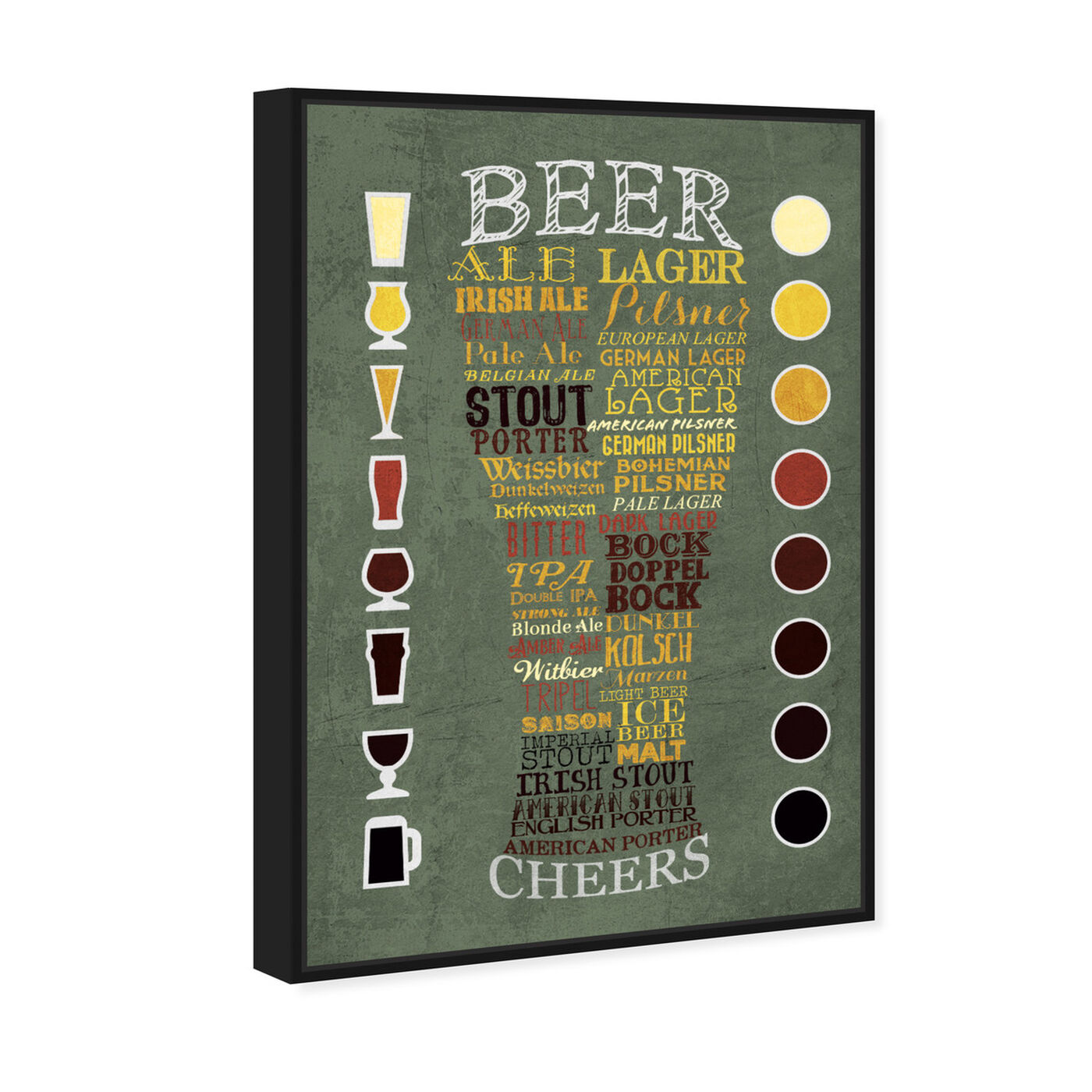 Angled view of Beer Chart II featuring drinks and spirits and beer art.