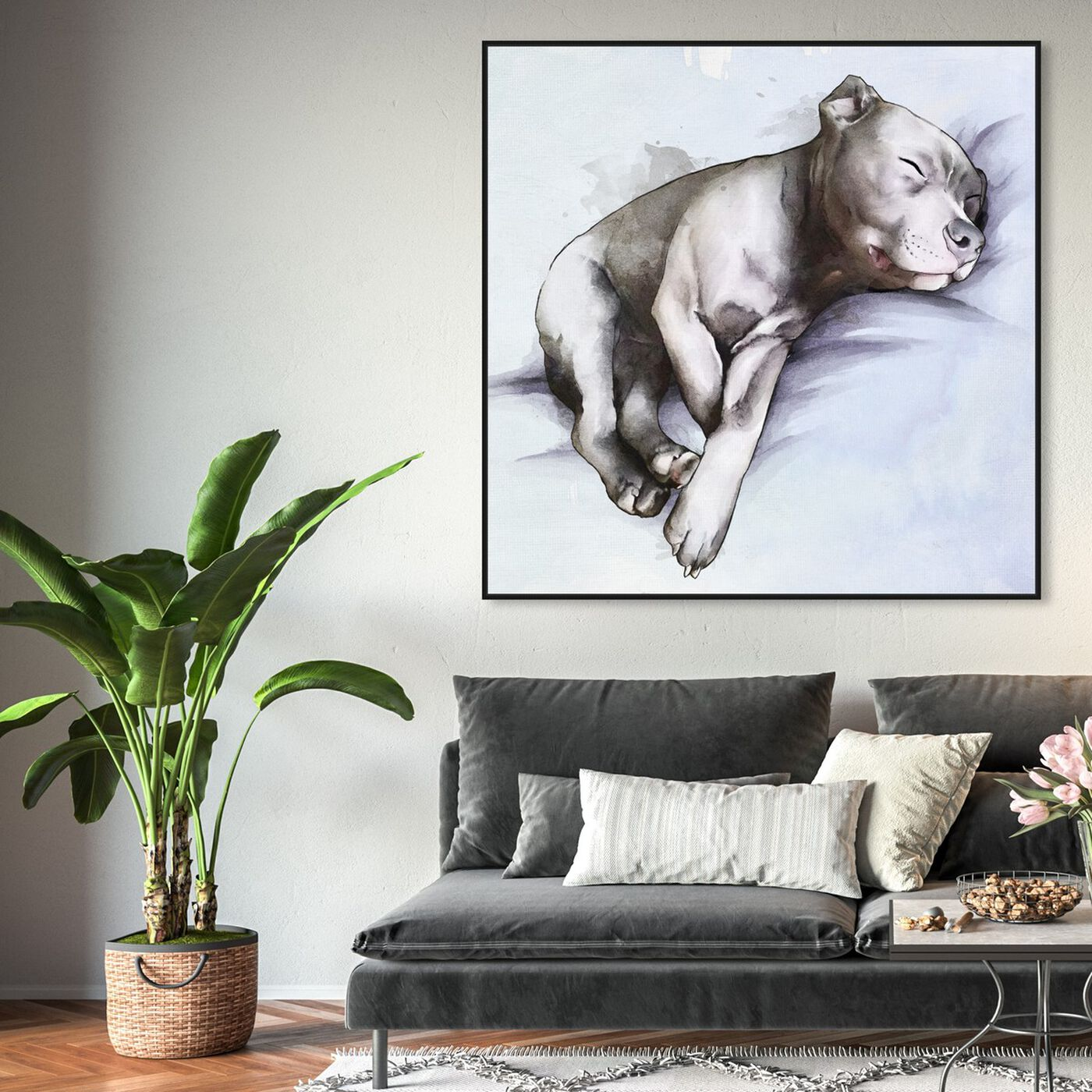Hanging view of Sleeping Pitbull featuring animals and dogs and puppies art.