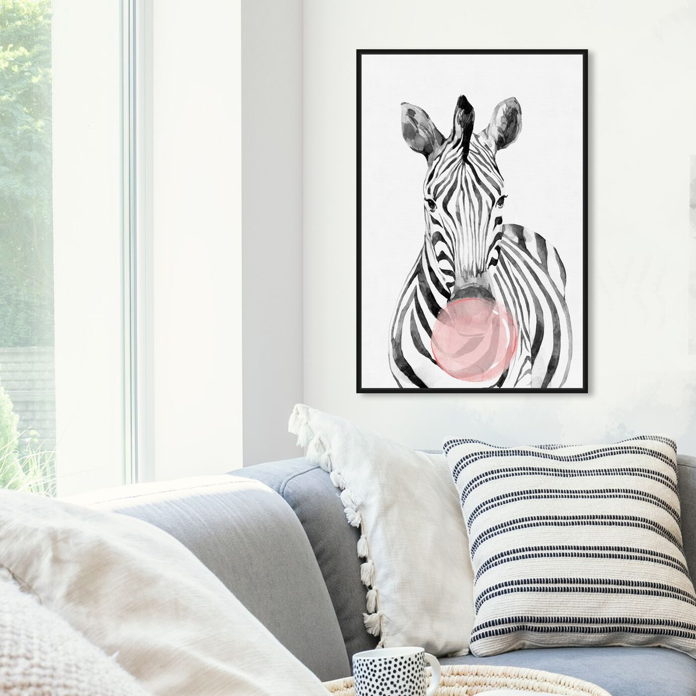 Hanging view of Zebra Bubblegum featuring animals and zoo and wild animals art.