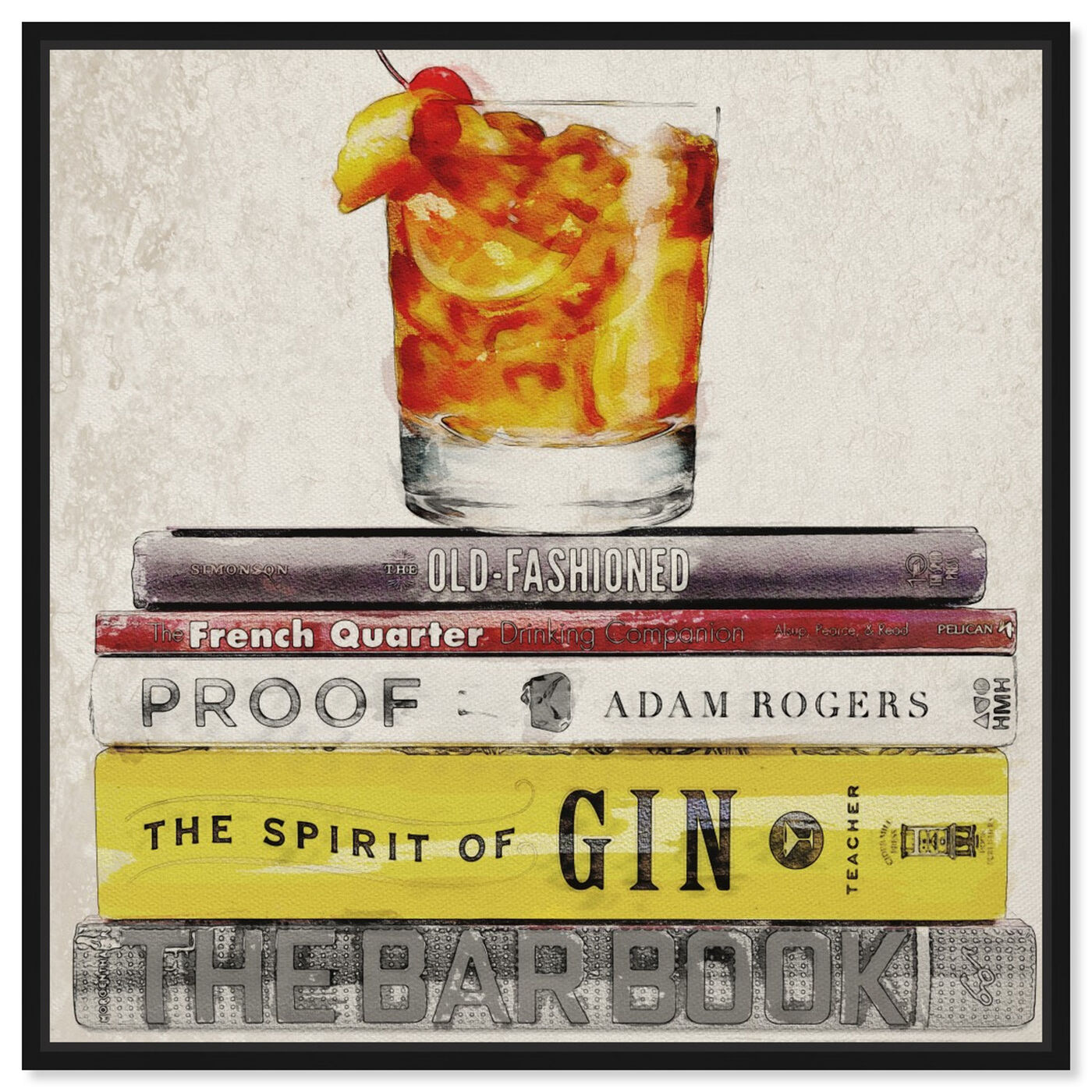 Front view of Bar Books featuring drinks and spirits and cocktails art.