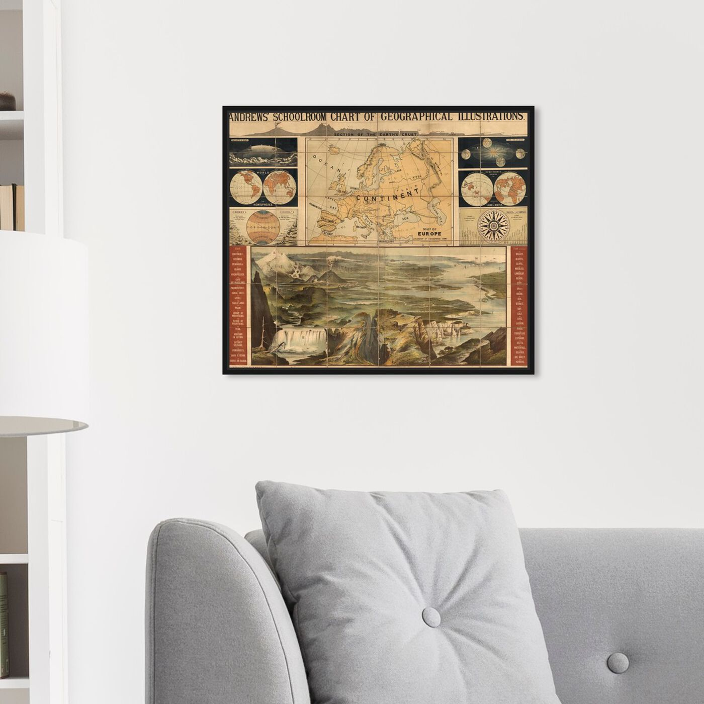 Hanging view of Geographical Illustrations 1915 featuring maps and flags and world maps art.