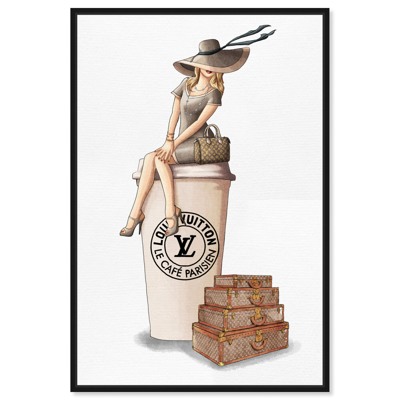 Front view of Cafe au Lait Paris featuring fashion and glam and handbags art.