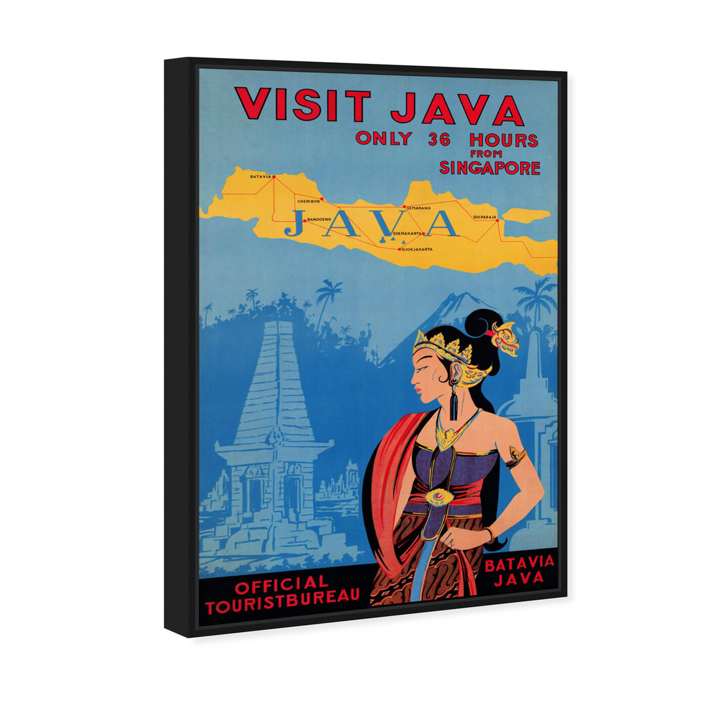 Angled view of Visit Java featuring world and countries and asian countries art.