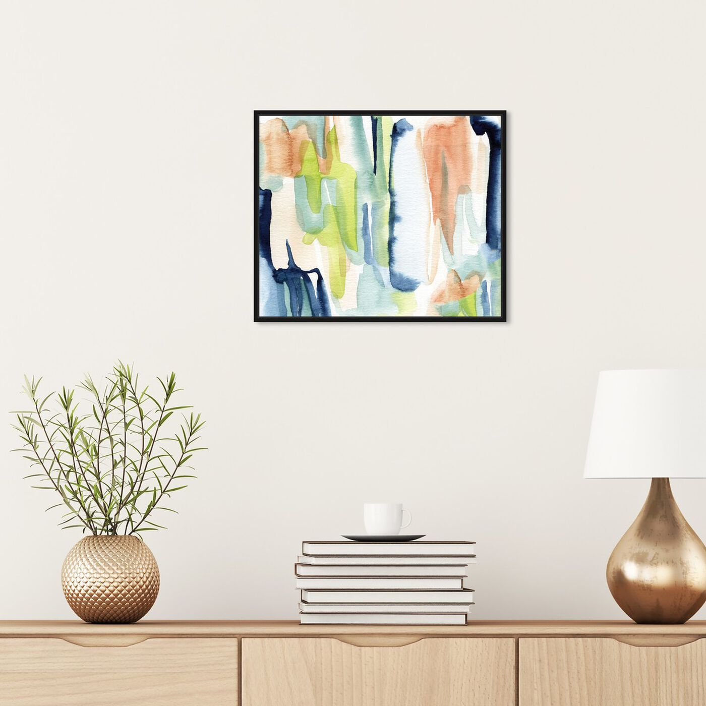 Hanging view of Seaglass Eyes featuring abstract and watercolor art.