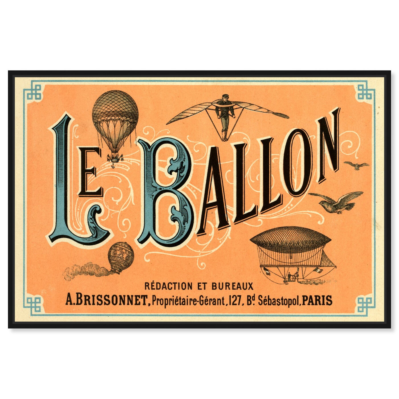 Front view of Le Balloon 1883 featuring transportation and air transportation art.
