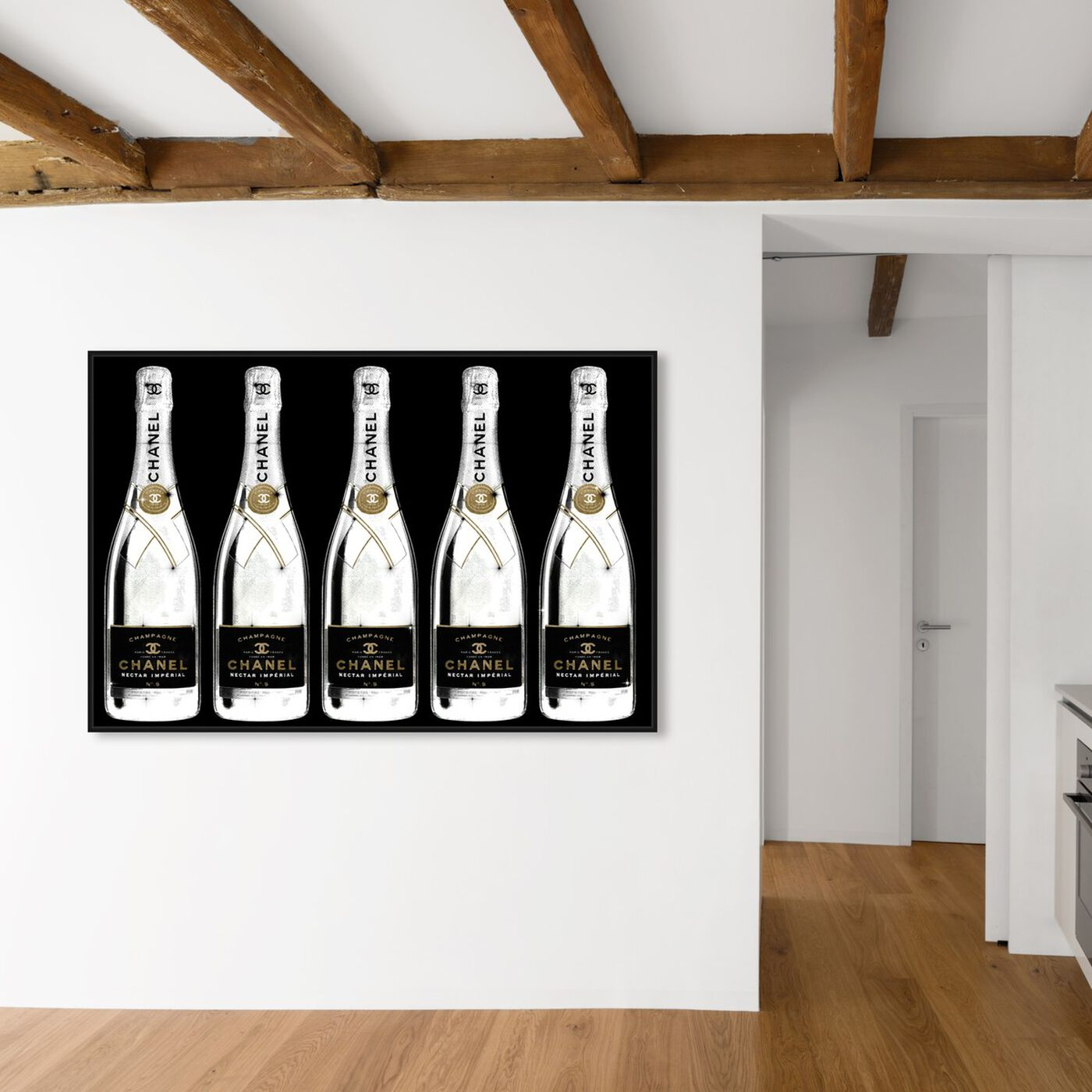 Hanging view of Drink Up Champagne Black featuring fashion and glam and lifestyle art.