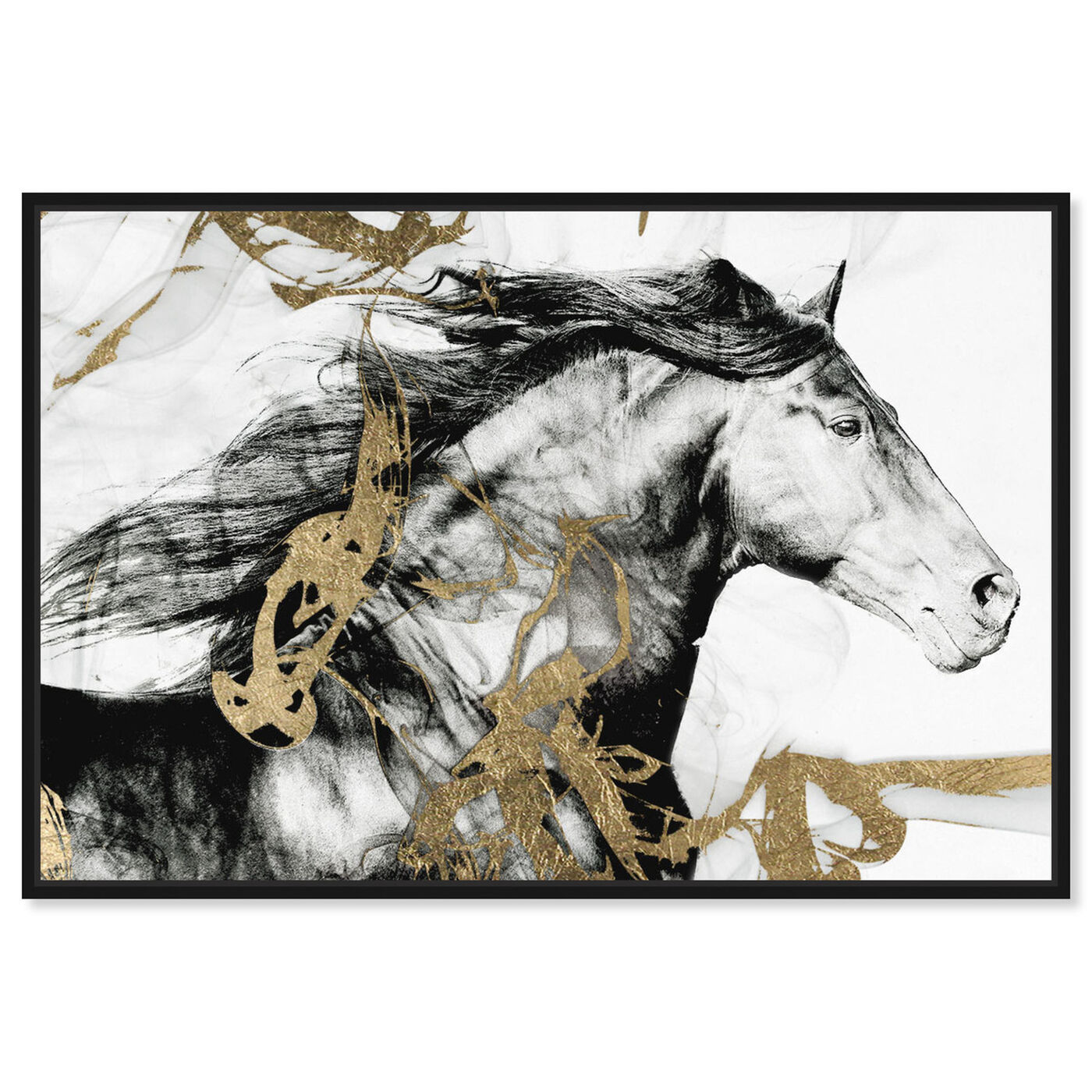 Front view of Gold and Black Beauty featuring animals and farm animals art.