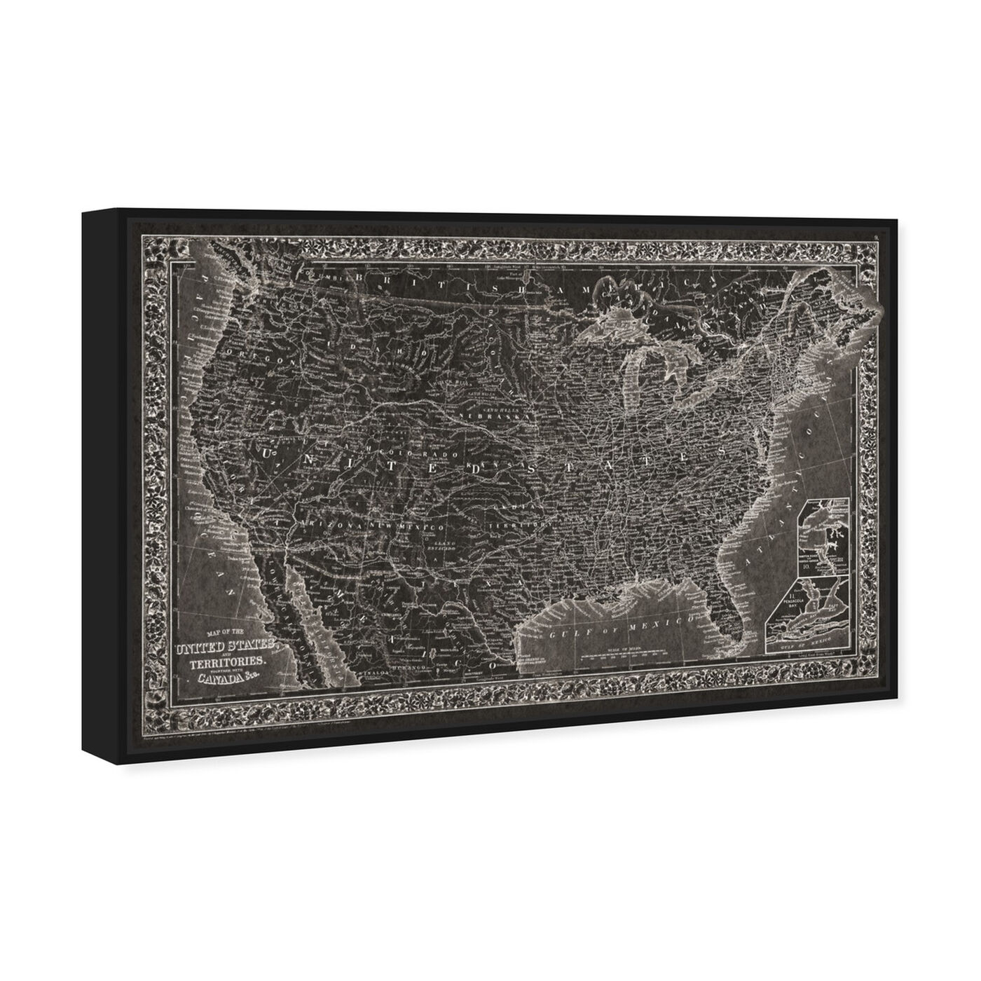 Angled view of United States of America Map 1864 featuring maps and flags and american countries maps art.