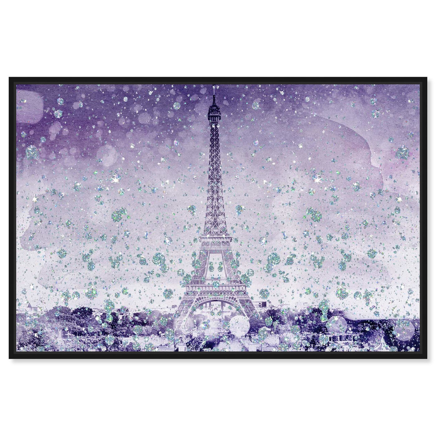 Front view of Eiffel Violet featuring cities and skylines and european cities art.