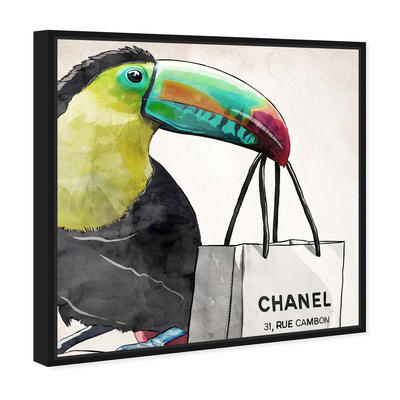 Angled view of French Toucan Artwork featuring fashion and glam and fashion art.