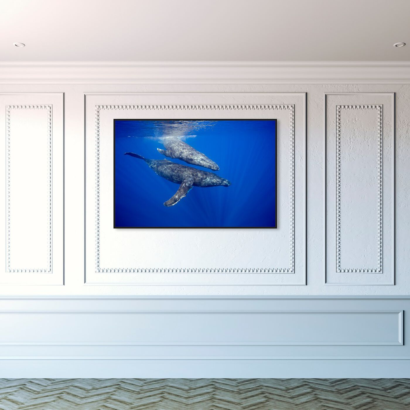 Hanging view of Humpback Whale Pair by David Fleetham featuring nautical and coastal and marine life art.