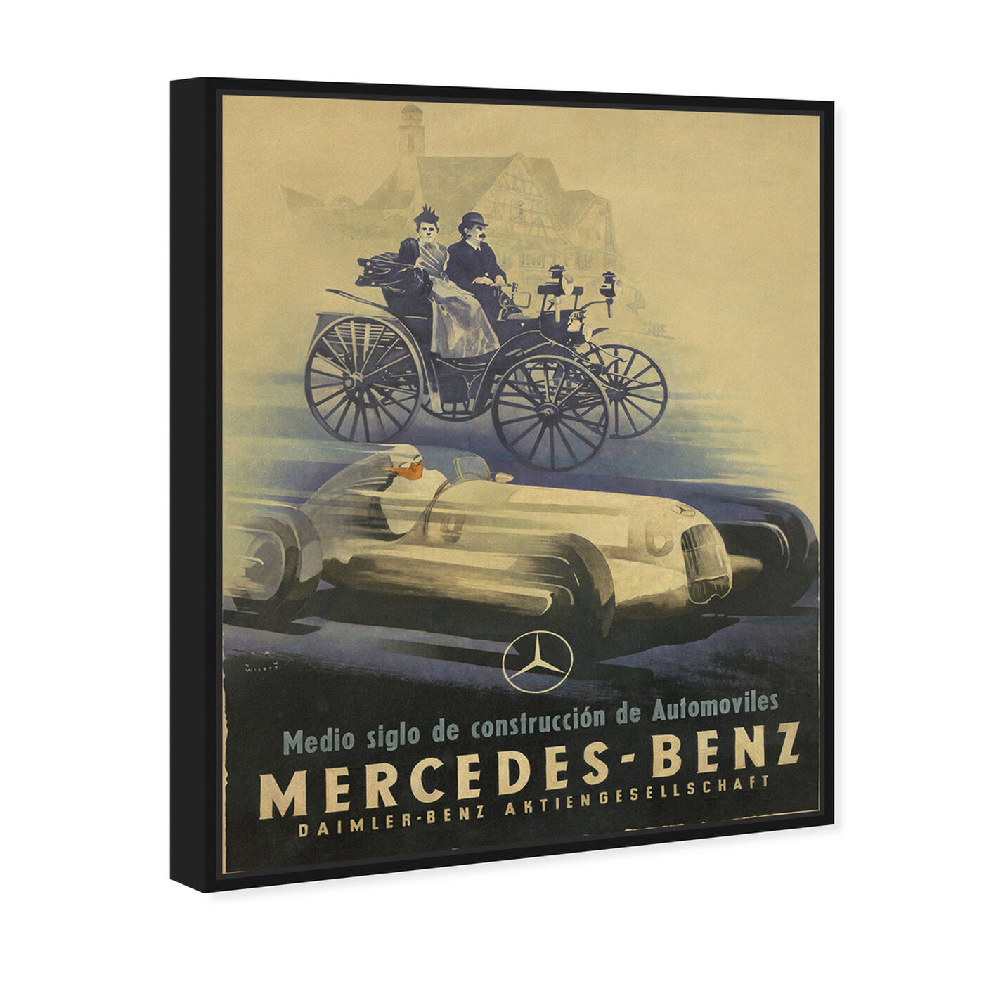 Angled view of Mercedes Deco featuring advertising and promotional brands art.