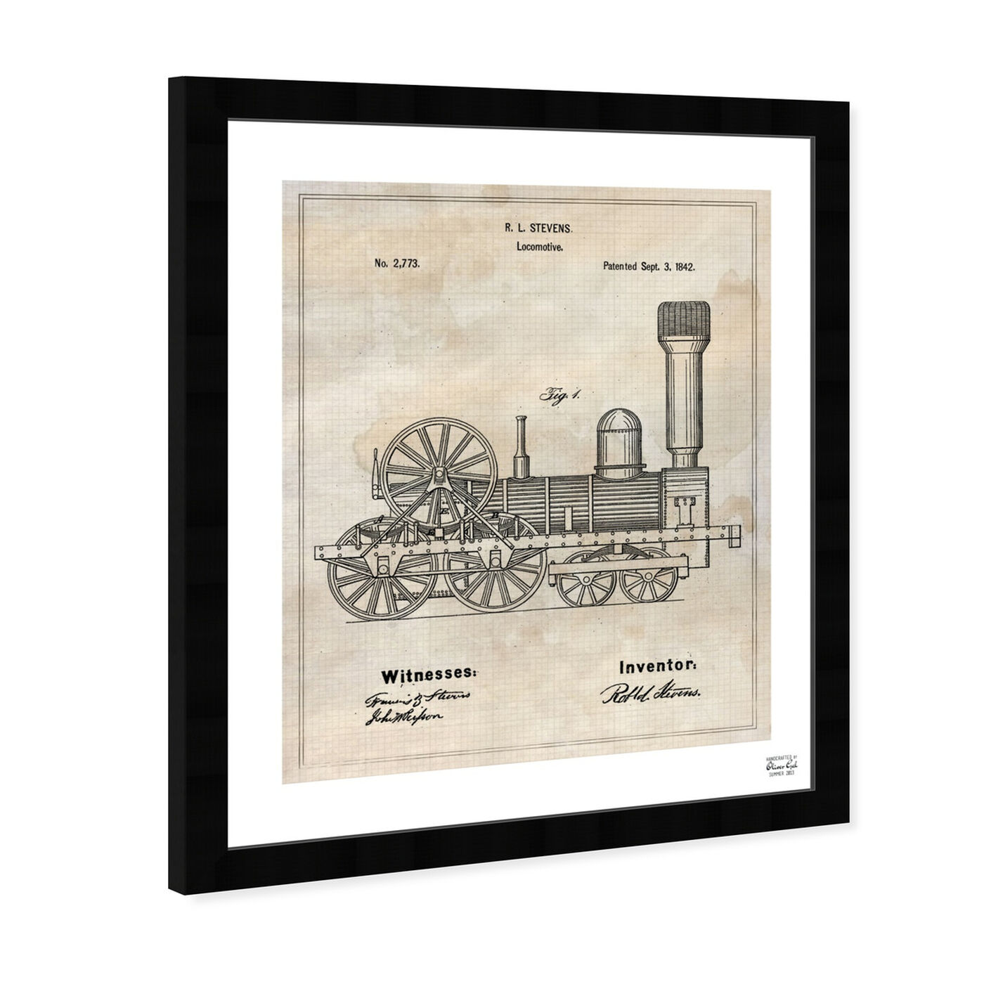 Angled view of Locomotive 1842 featuring transportation and trains art.