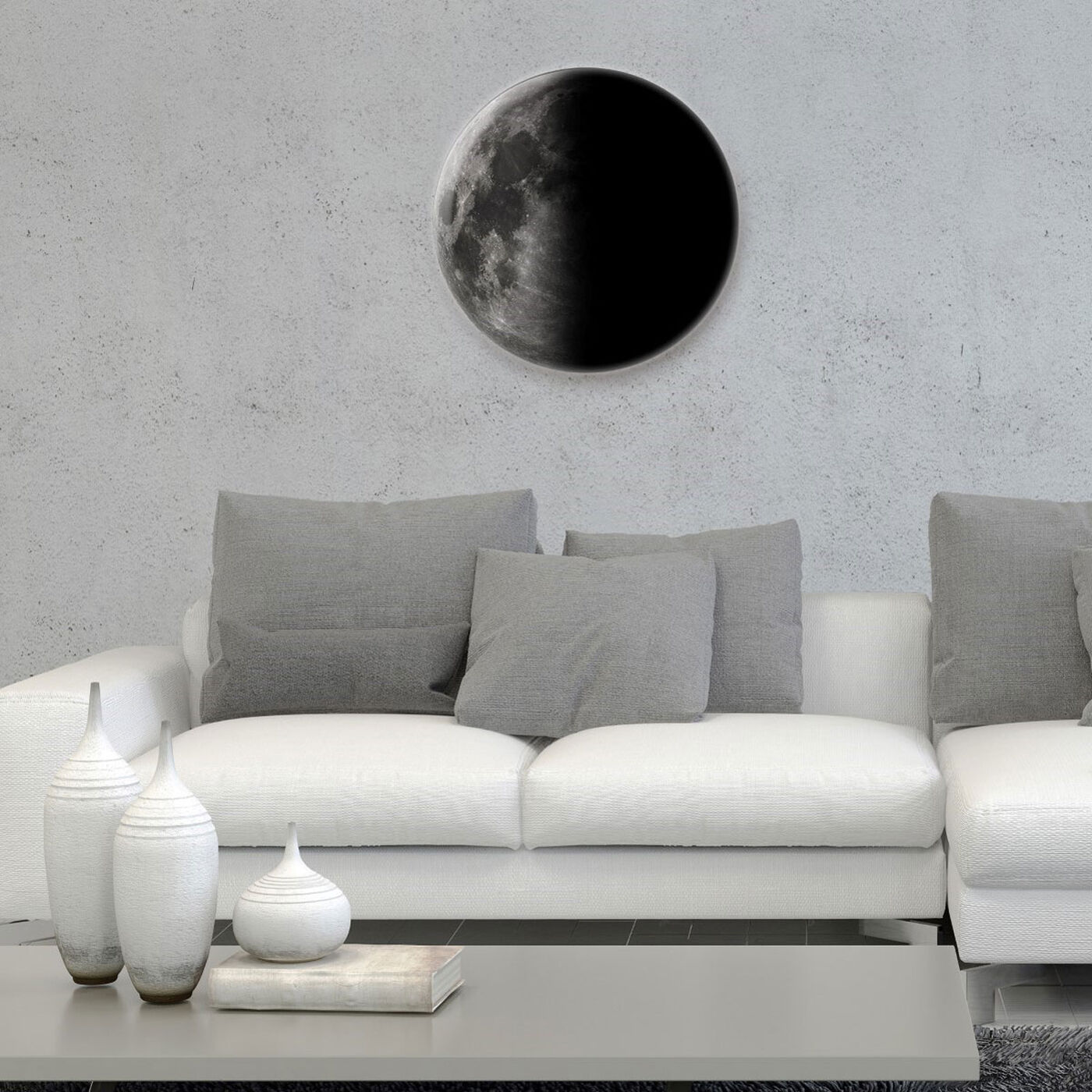 Hanging view of Moon II featuring astronomy and space and moons art.