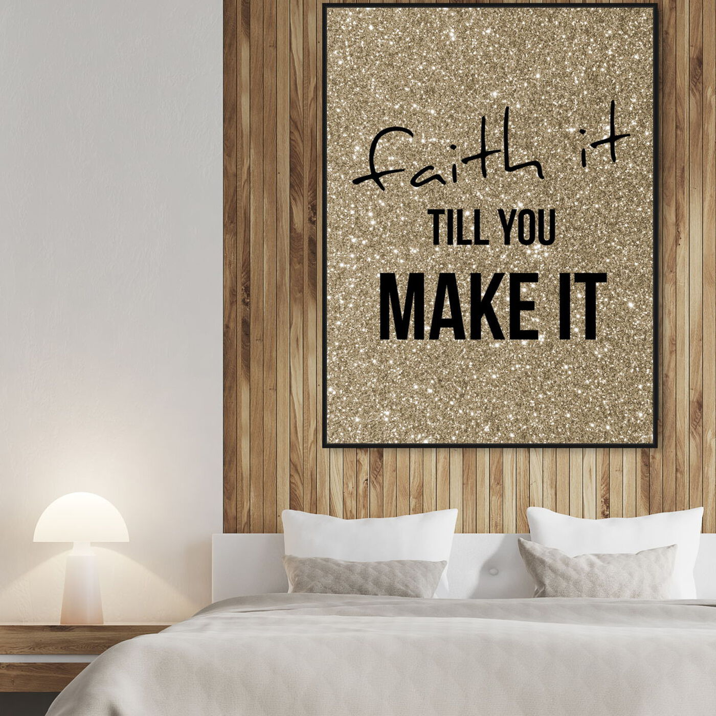 Hanging view of Faith Gold featuring typography and quotes and motivational quotes and sayings art.