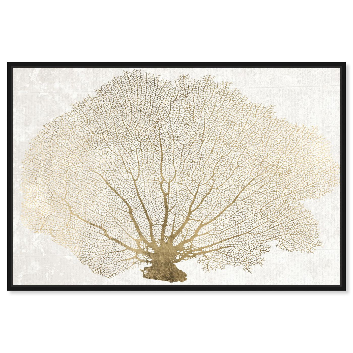 Front view of Gold Coral Fan featuring nautical and coastal and marine life art.