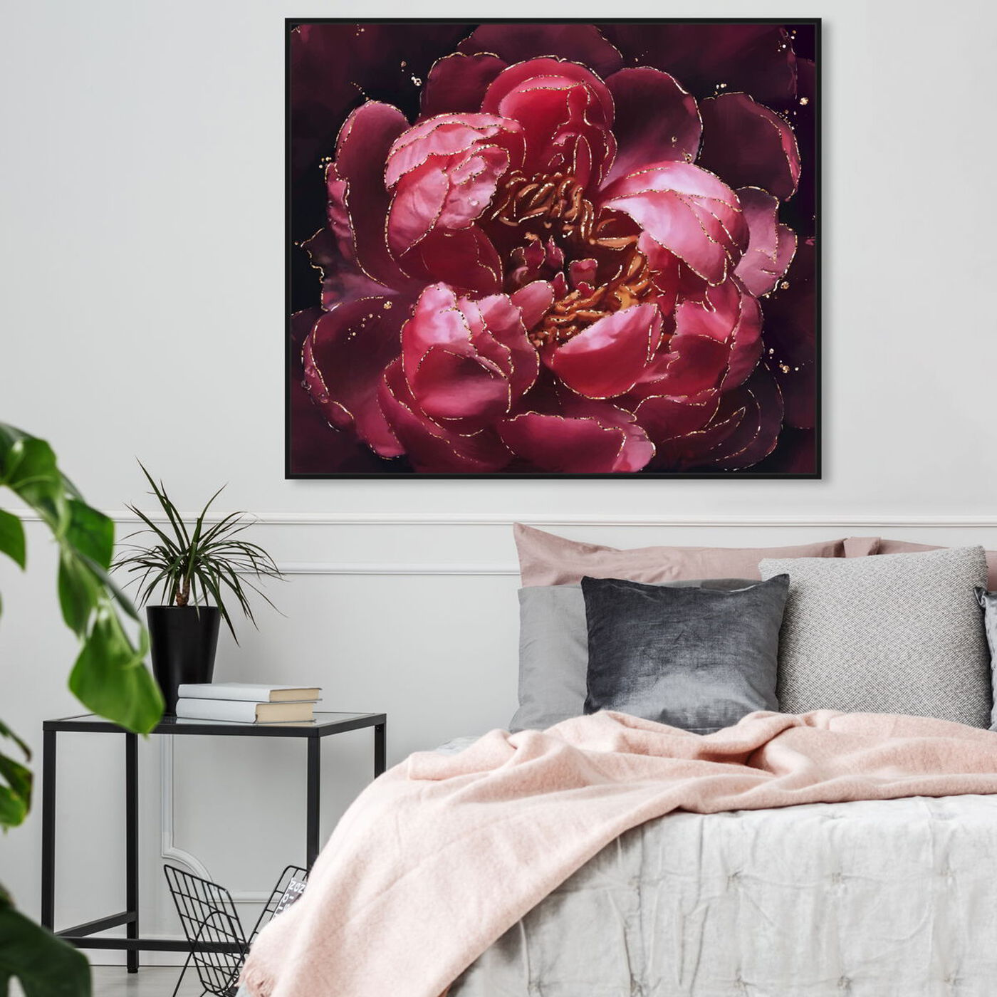 Hanging view of Cherry Red Flower featuring floral and botanical and florals art.