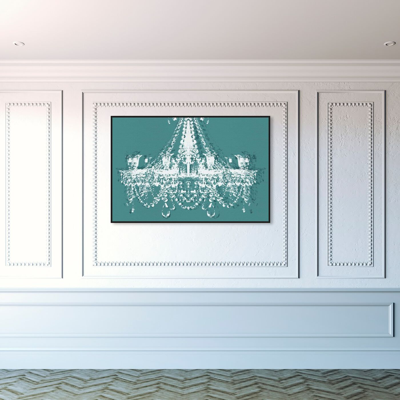 Hanging view of Dramatic Entrance Sarcelle featuring fashion and glam and chandeliers art.