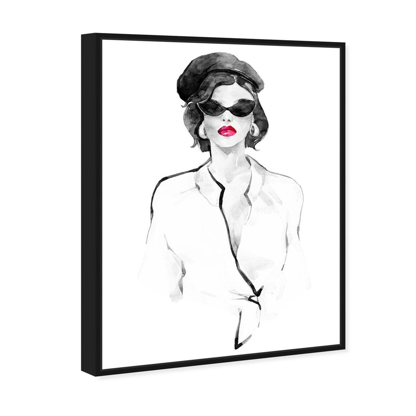 Angled view of French Beret and Ready Mono featuring fashion and glam and lips art.