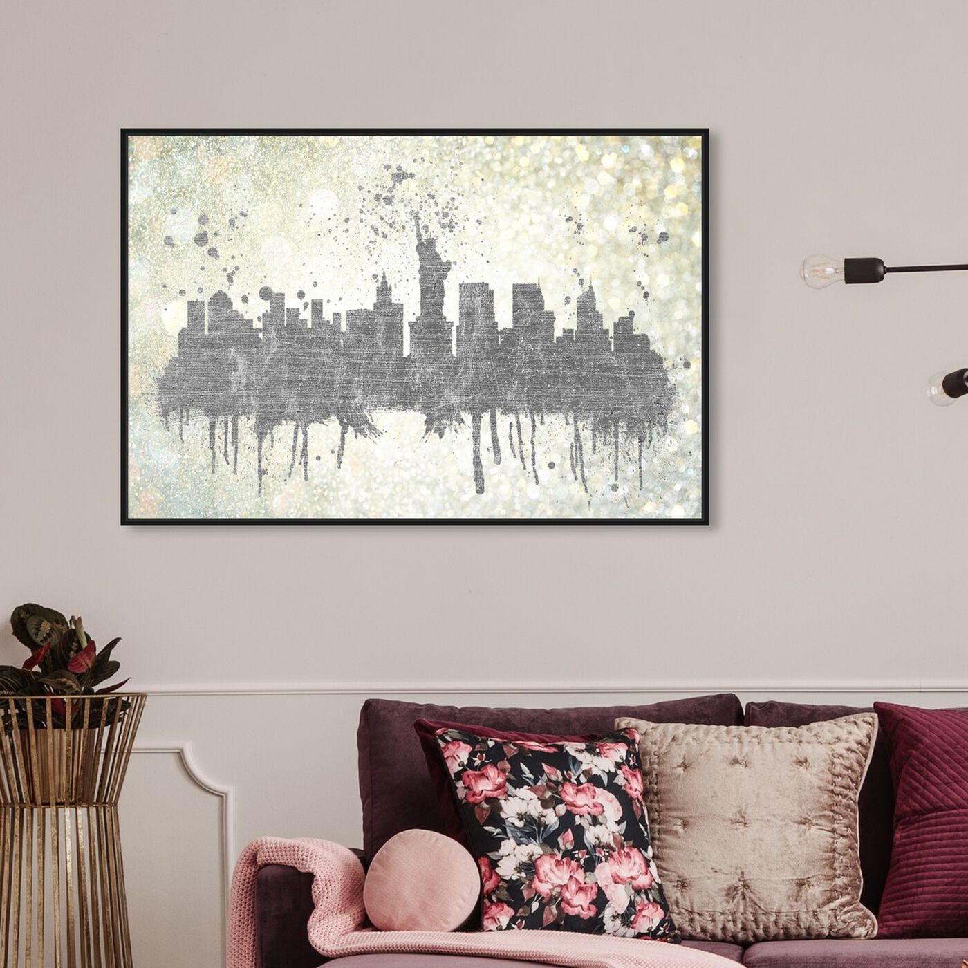 Hanging view of Silver Rain on NYC featuring cities and skylines and united states cities art.