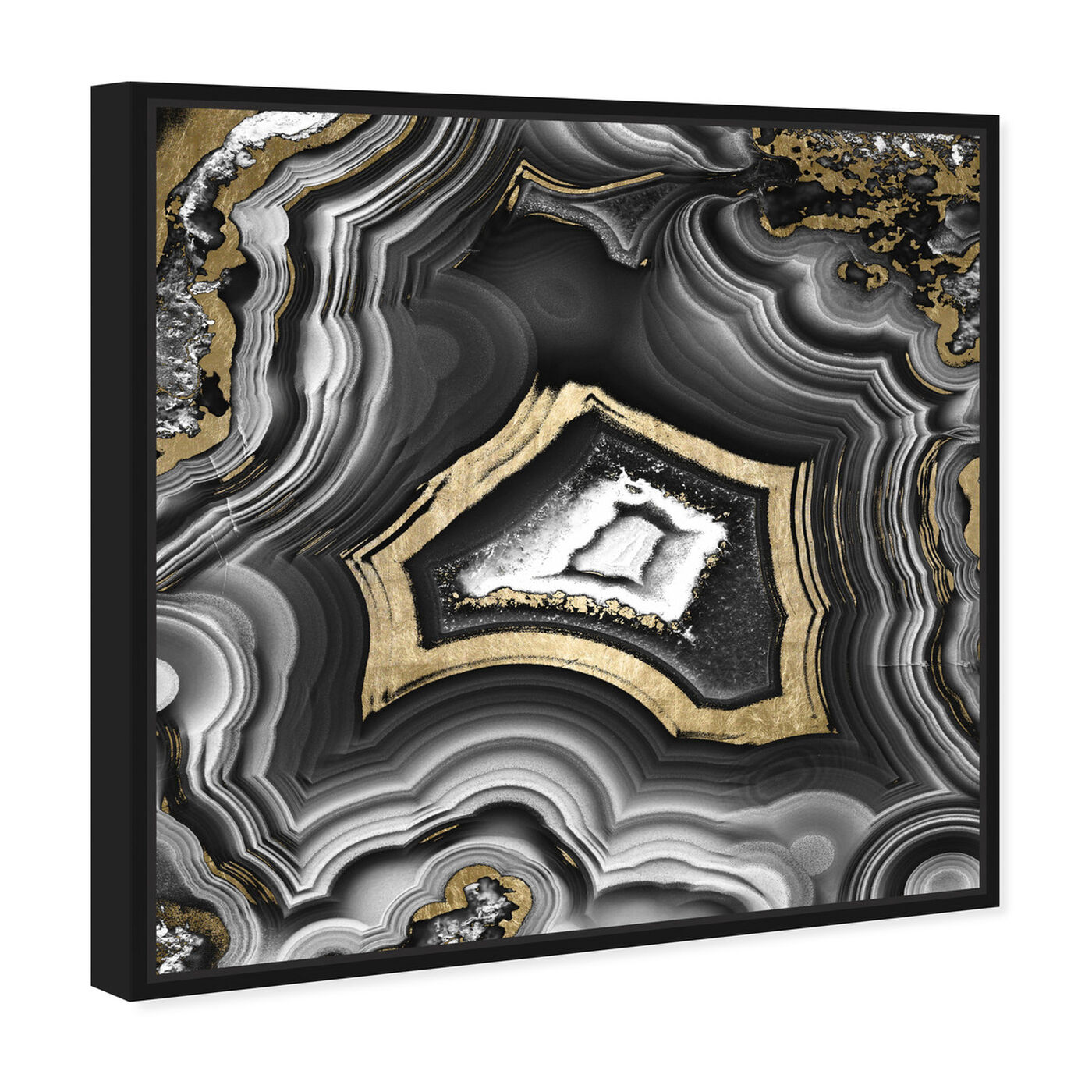 Angled view of Adoregeo Square featuring abstract and crystals art.