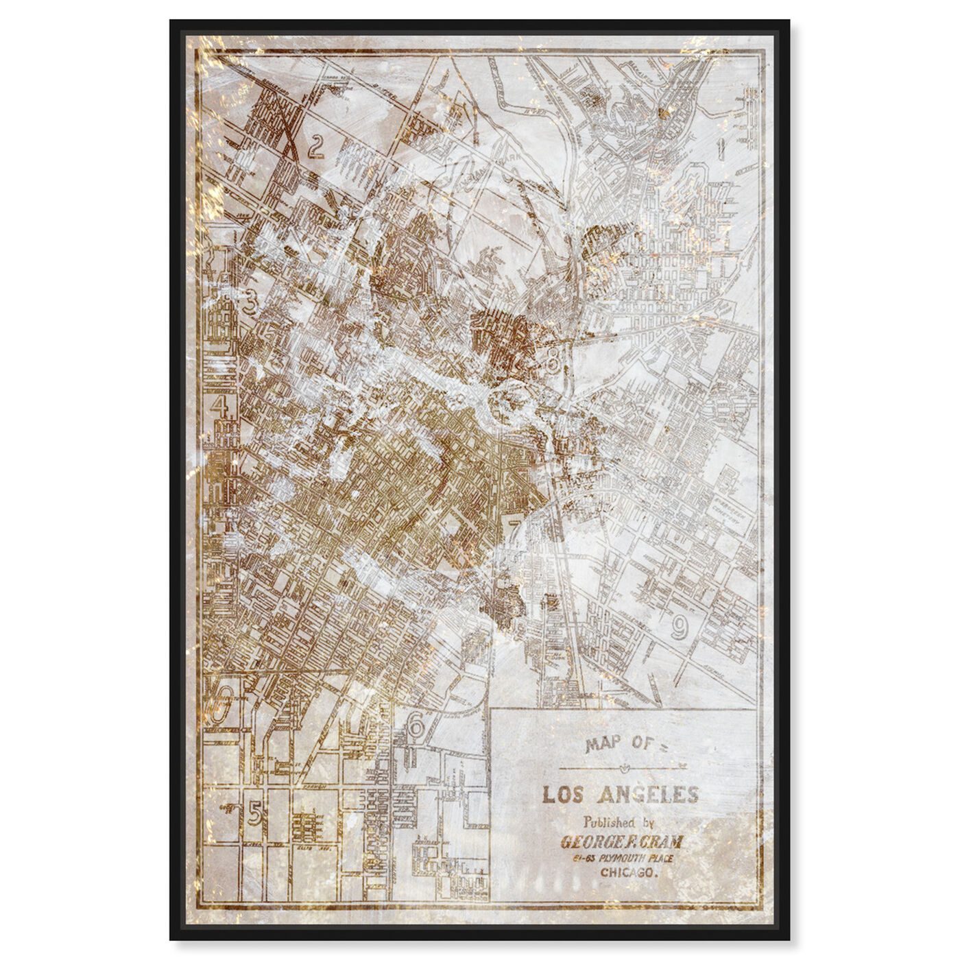 Front view of Dusty Gold Los Angeles Map featuring maps and flags and us cities flags art.