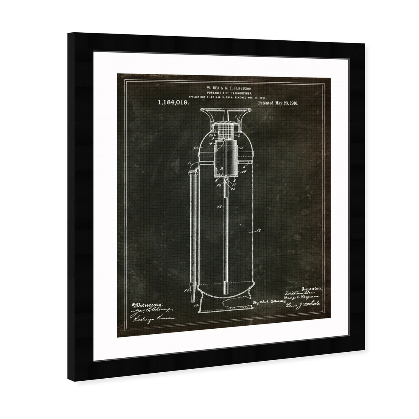 Angled view of Portable Fire Extinguisher 1916 featuring symbols and objects and shapes art.