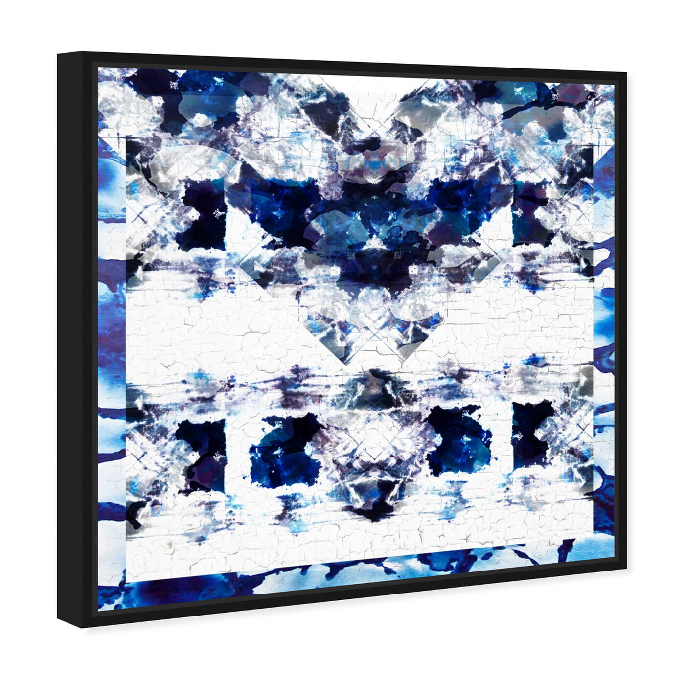 Angled view of Oeuvre in Blue featuring abstract and patterns art.