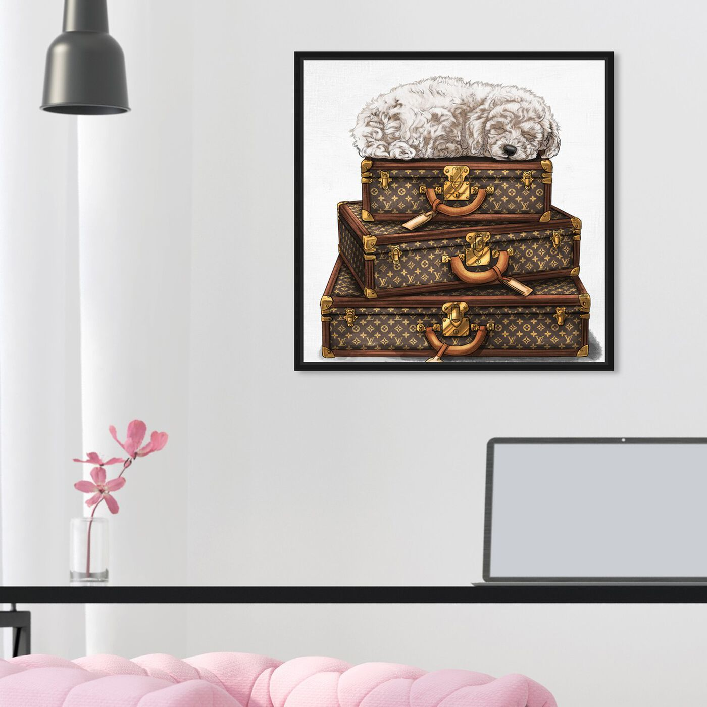 Hanging view of sleeping POODLE WHITE featuring fashion and glam and travel essentials art.