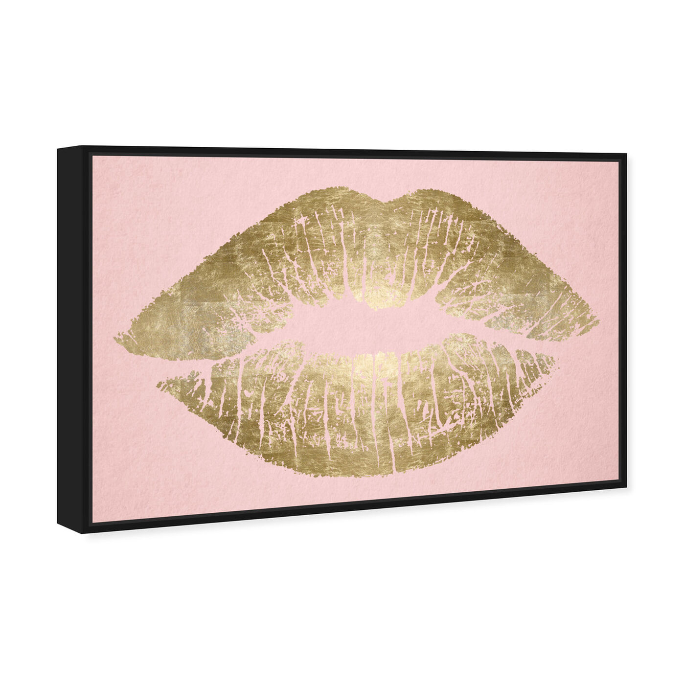 Angled view of Solid Kiss Blush and Gold featuring fashion and glam and lips art.