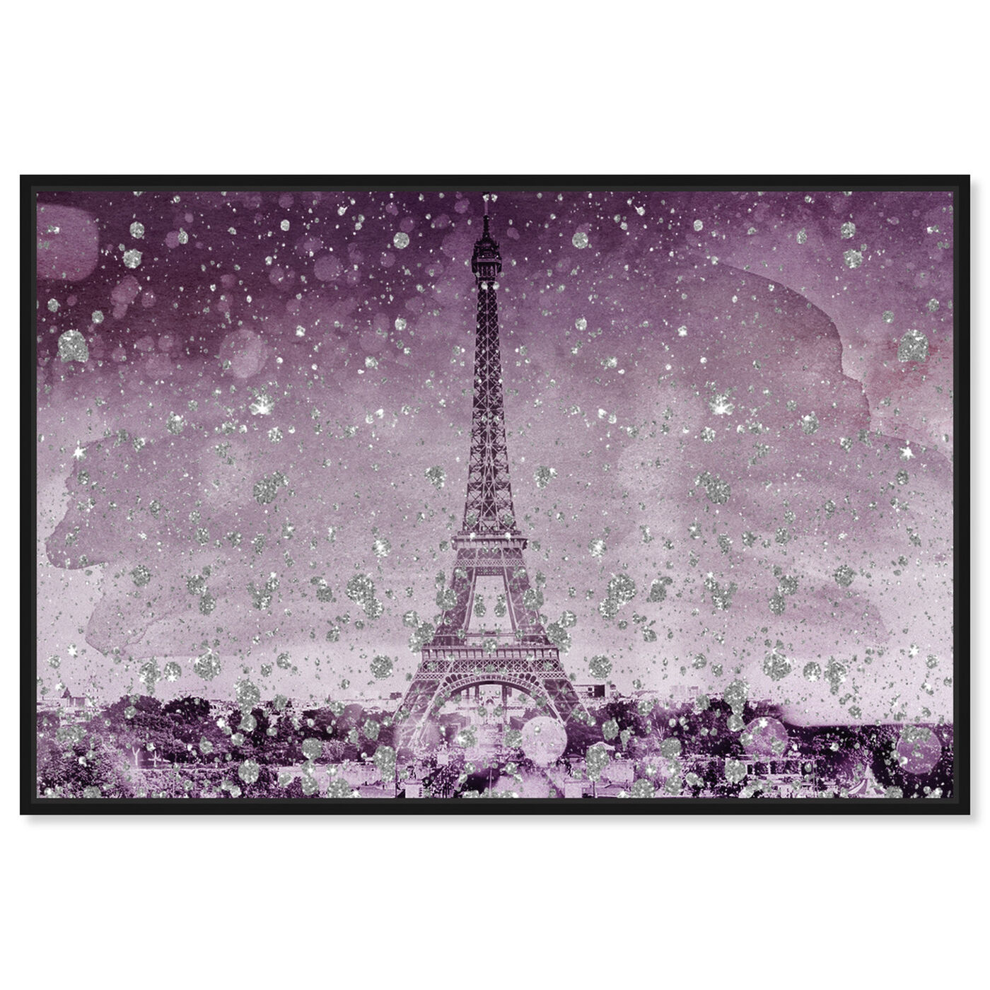 Front view of Eiffel Glitter Plum featuring cities and skylines and european cities art.