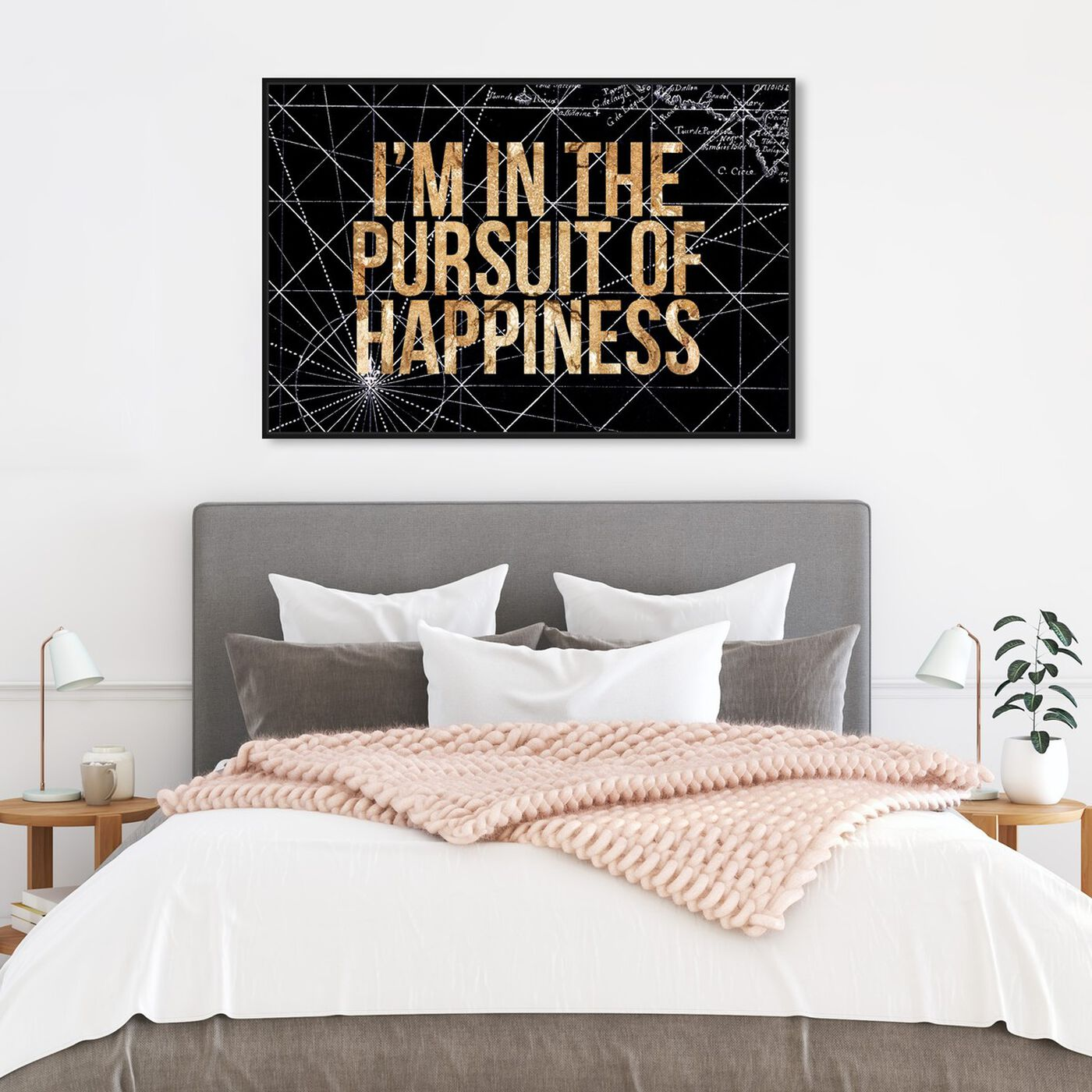 Hanging view of Pursuit of Happiness Night featuring typography and quotes and inspirational quotes and sayings art.