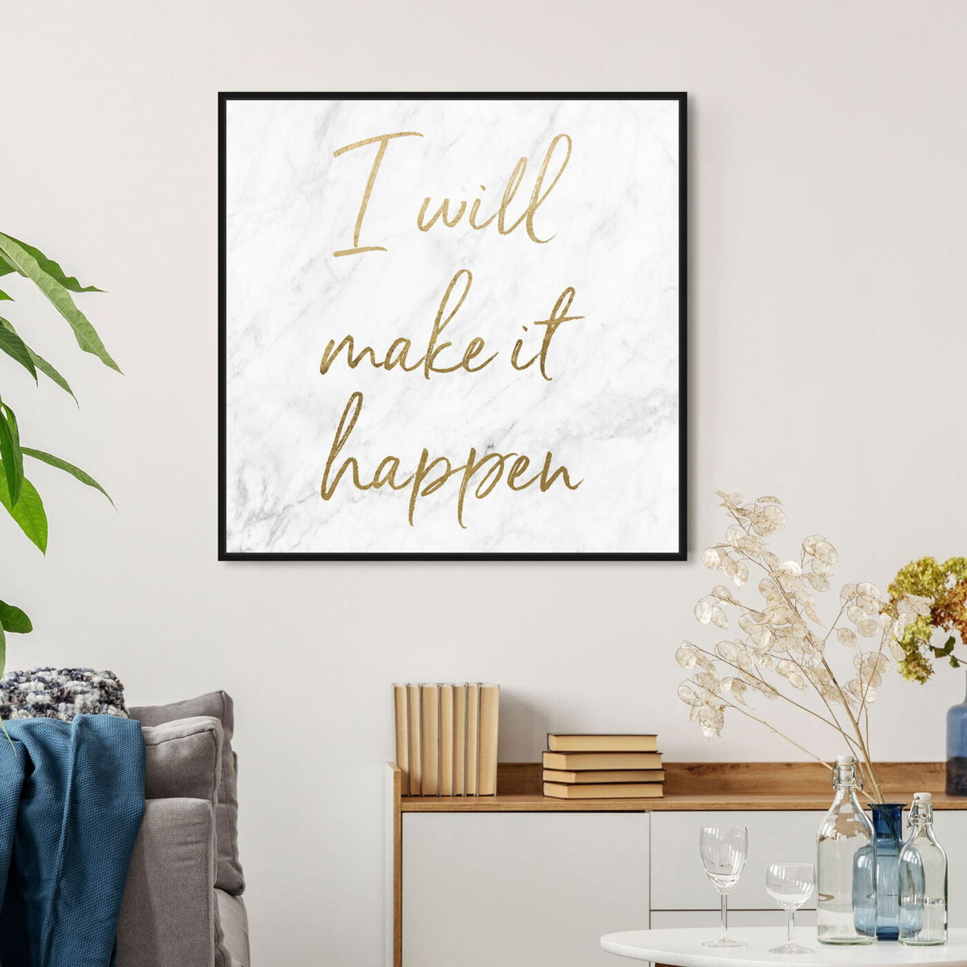 Hanging view of I Will Make It Happen featuring typography and quotes and motivational quotes and sayings art.