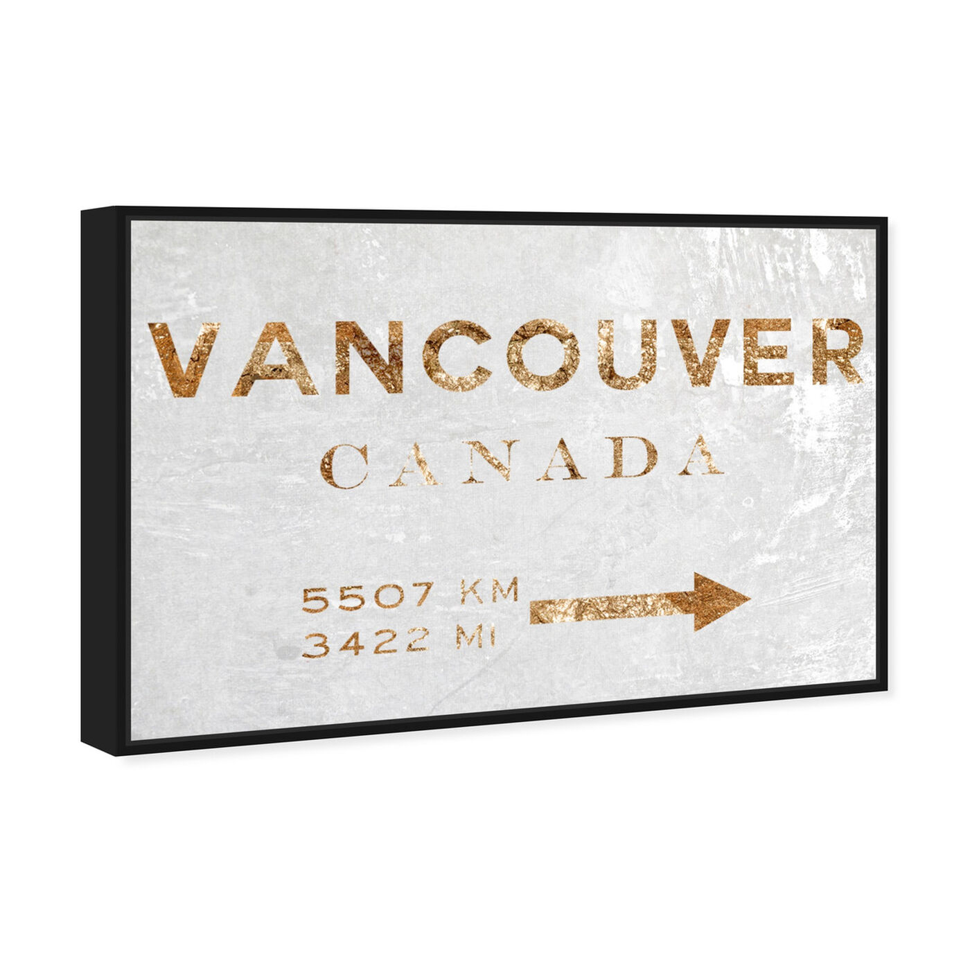 Angled view of Vancouver Road Sign featuring cities and skylines and north american cities art.