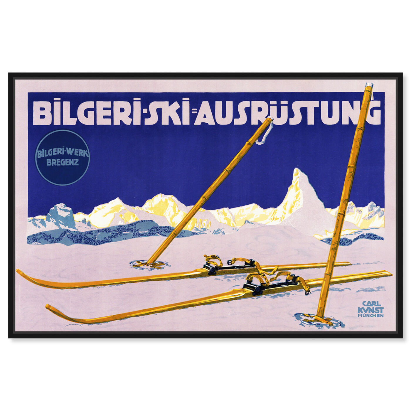 Front view of Bilgeri Ski featuring sports and teams and skiing art.