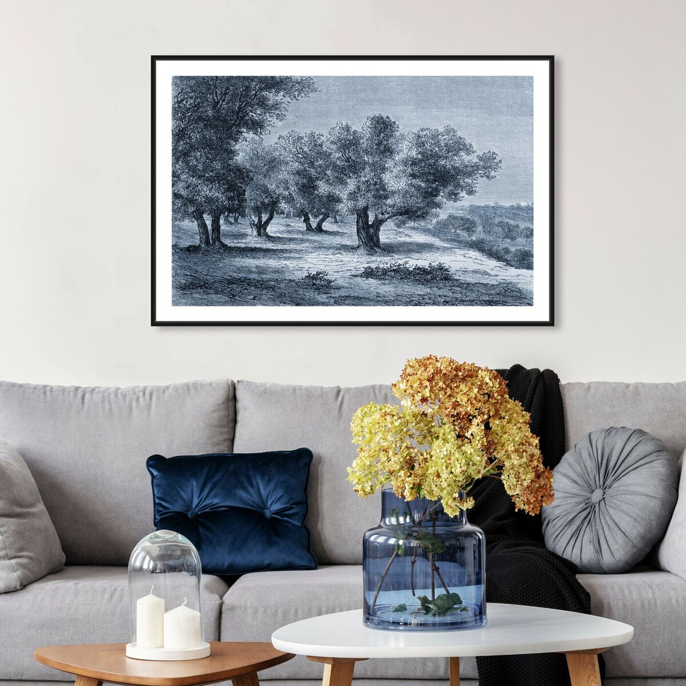 Hanging view of Olive Grove 1860 Engraving featuring nature and landscape and forest landscapes art.