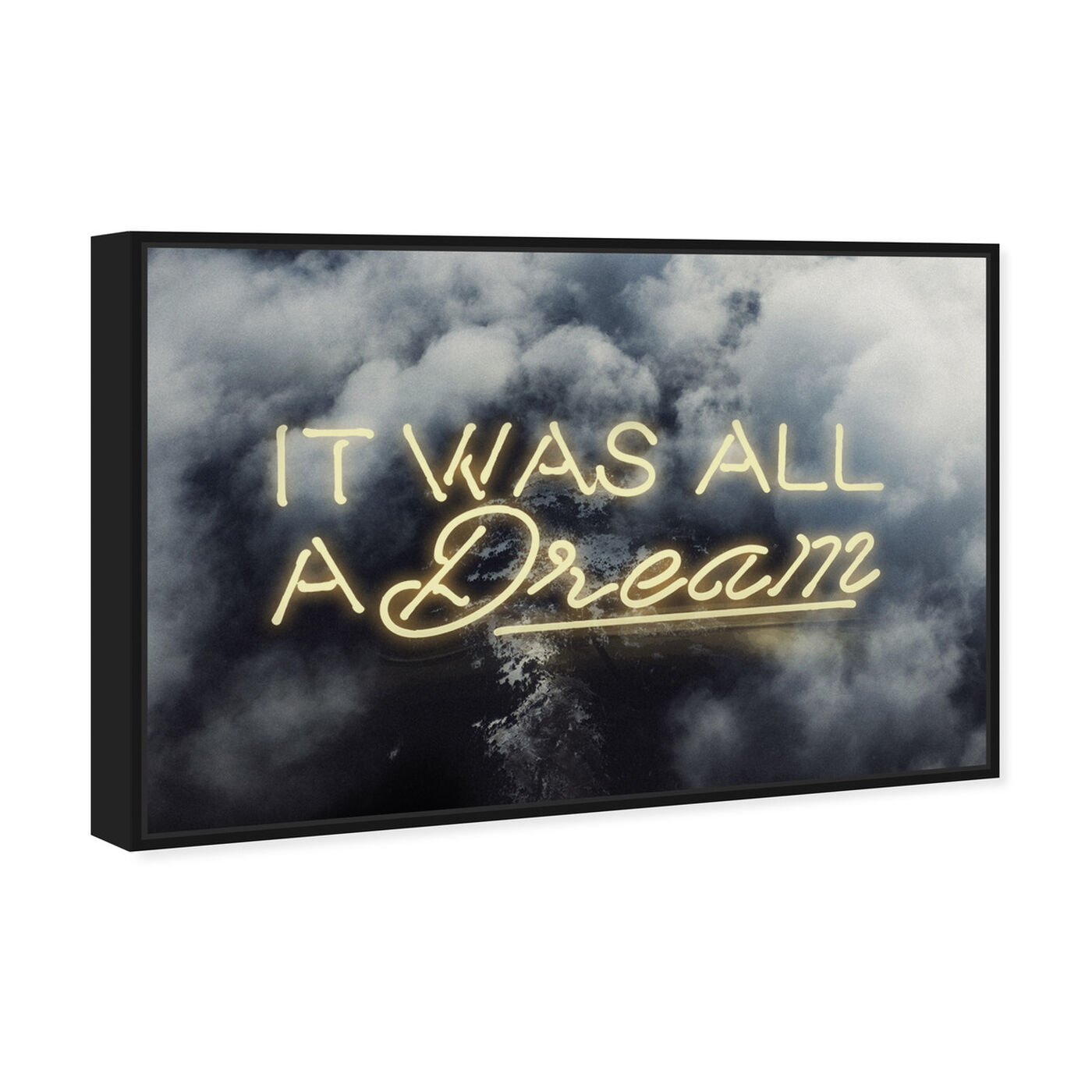 Angled view of IT WAS ALL A DREAM - YELLOW featuring typography and quotes and inspirational quotes and sayings art.