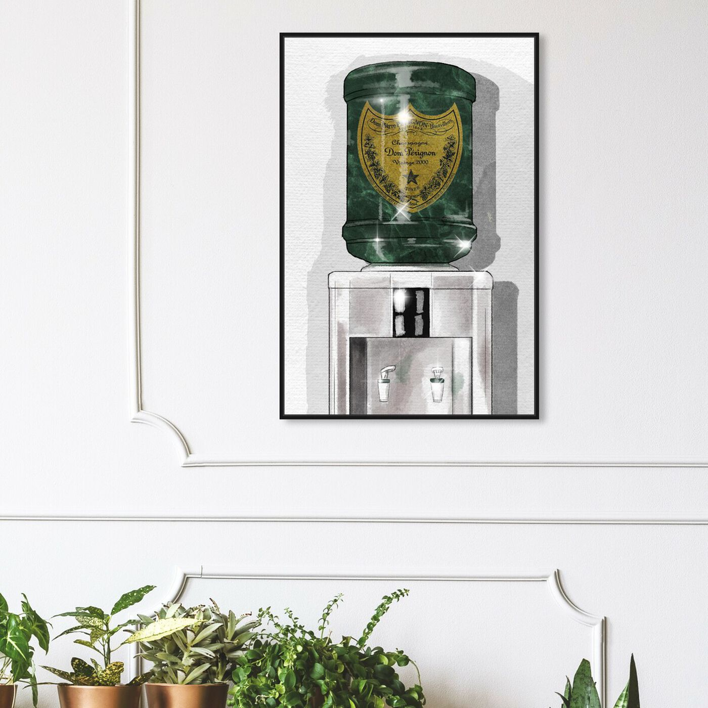 Hanging view of Dom Champagne Watercooler featuring fashion and glam and lifestyle art.