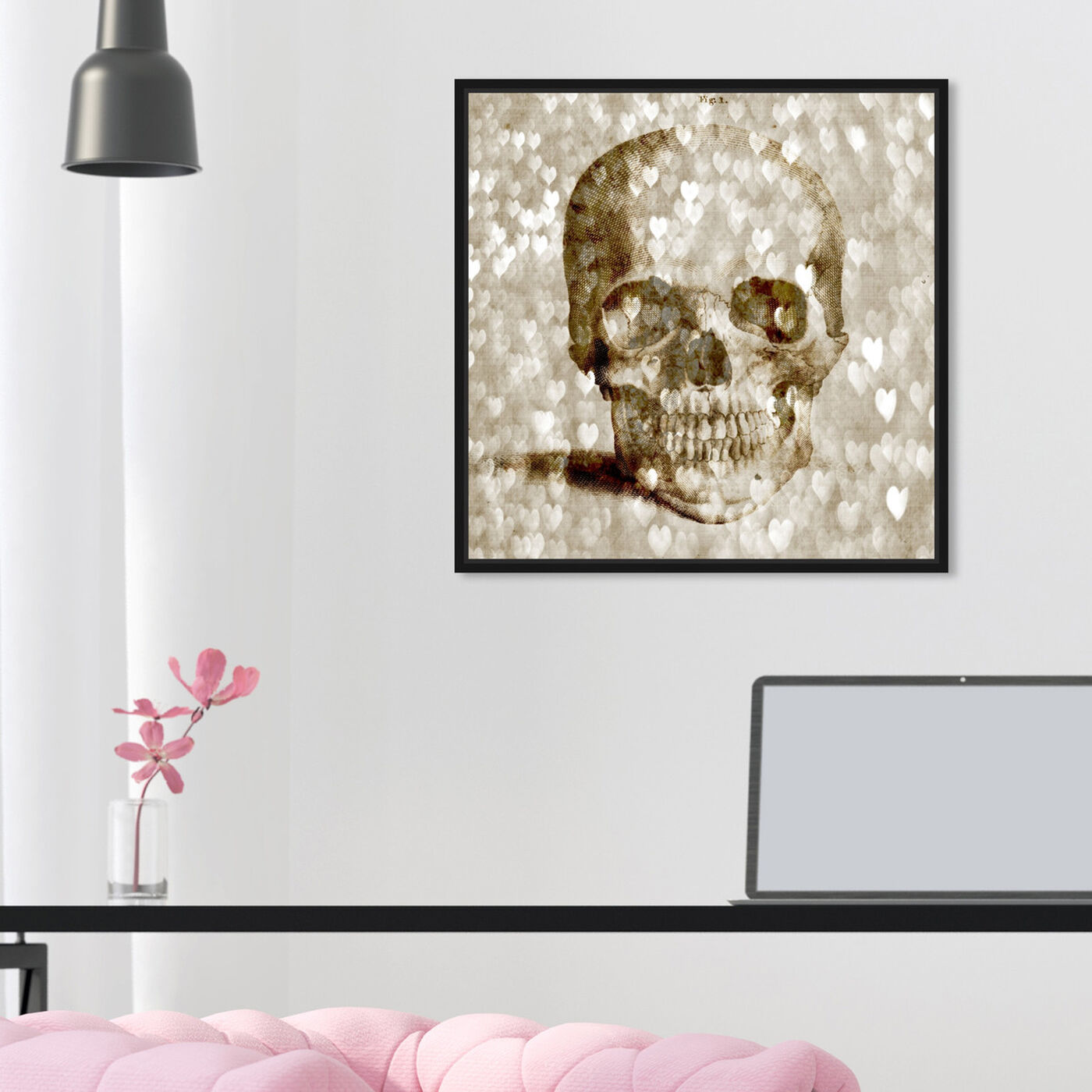 Hanging view of Loving Skull I featuring fashion and glam and hearts art.