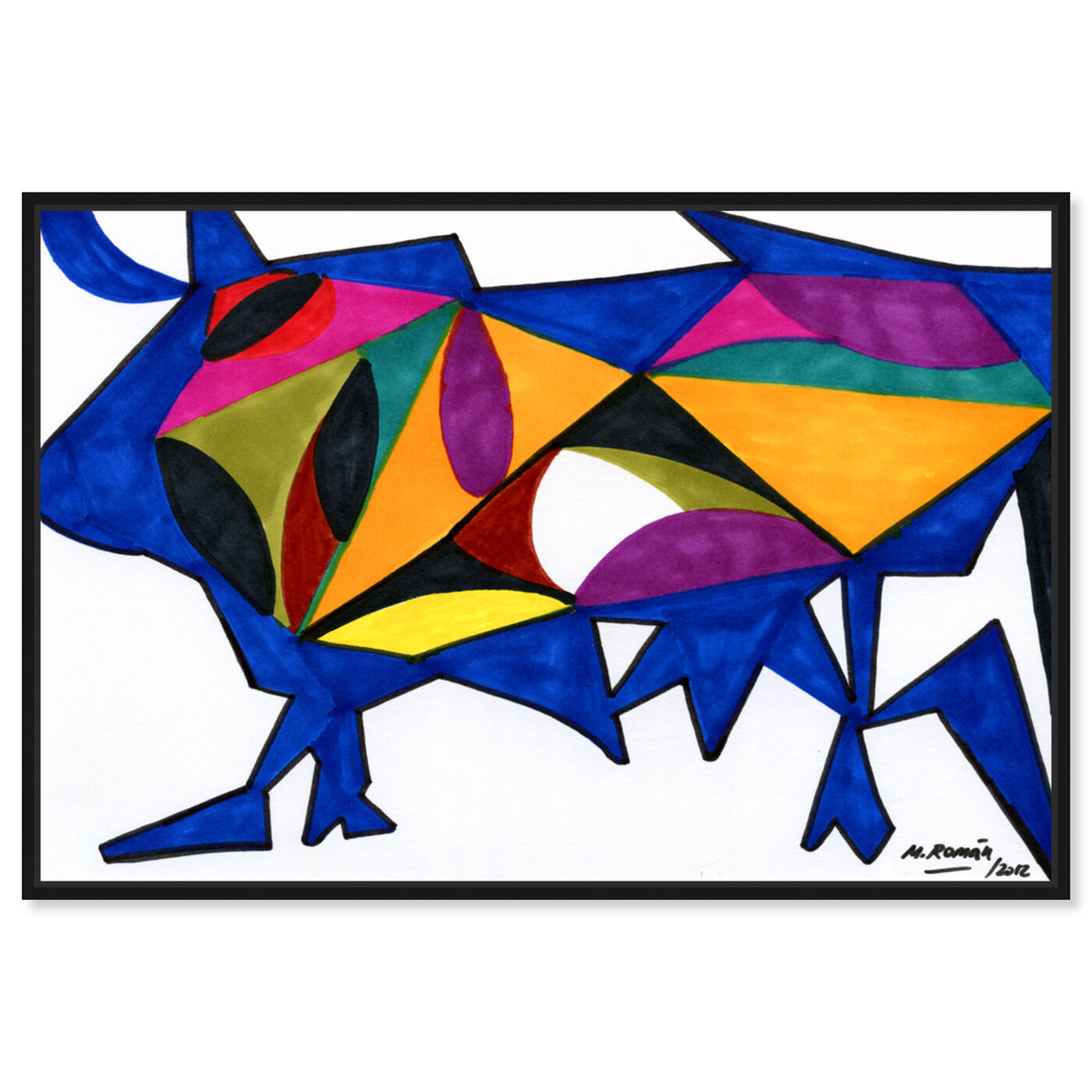 Front view of Bull Sunrise featuring abstract and shapes art.