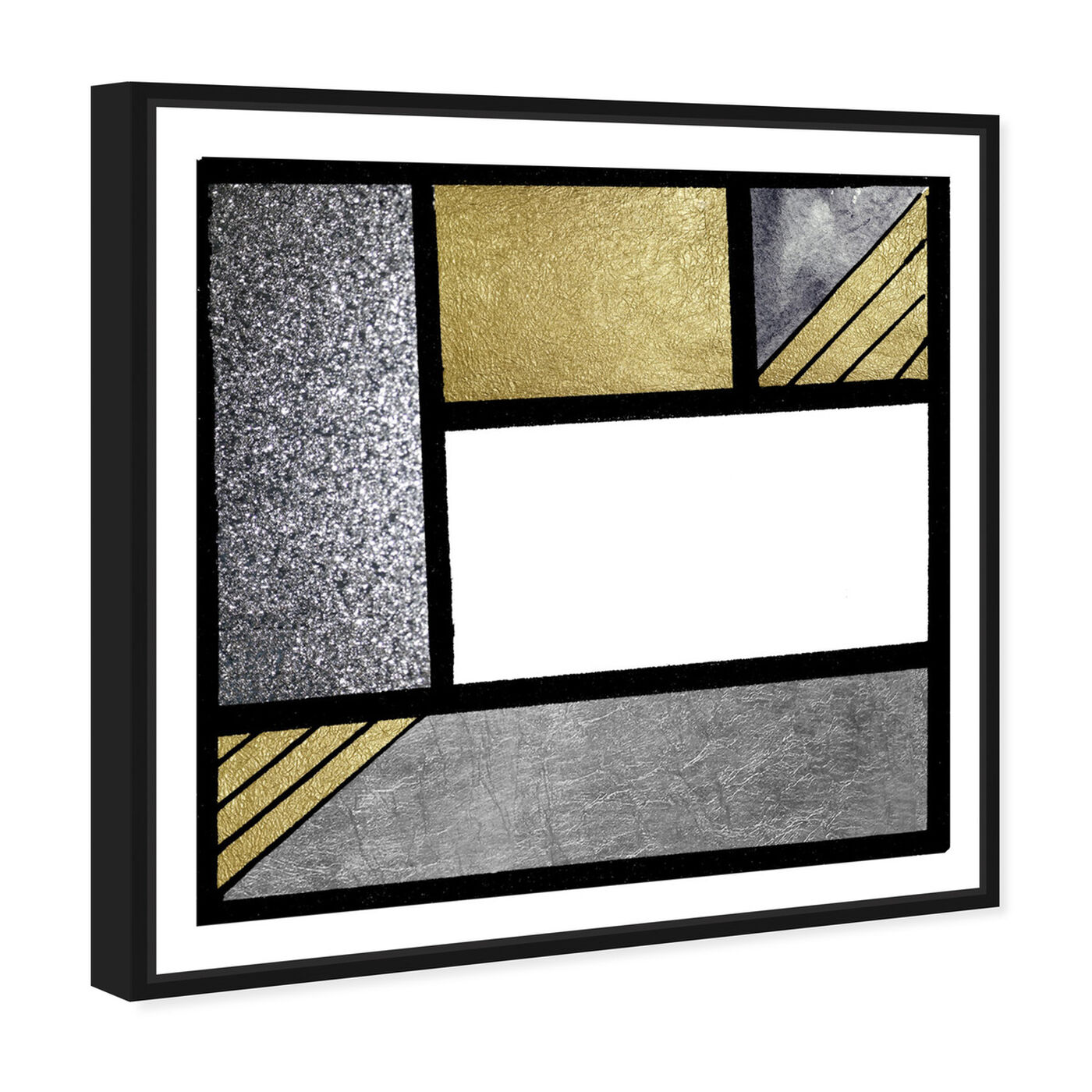 Angled view of Gold Feeling featuring abstract and geometric art.