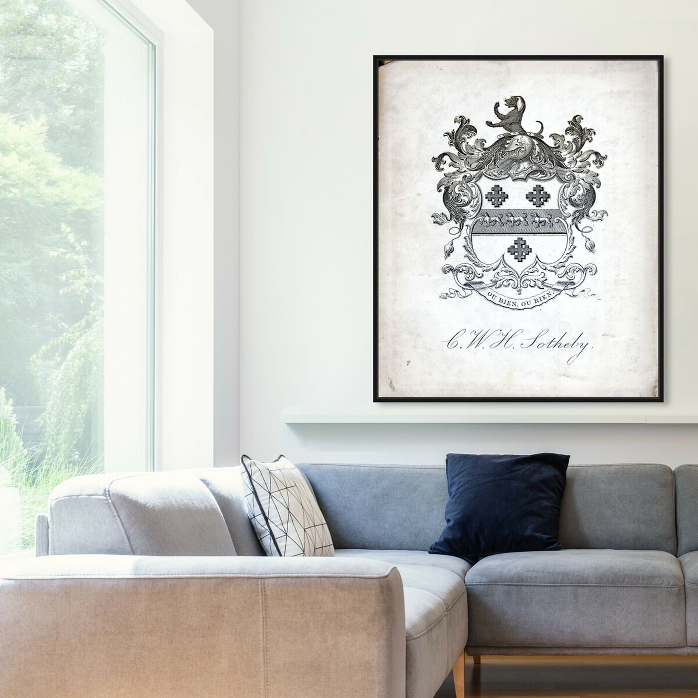 Hanging view of Armorial Engravings V featuring symbols and objects and calligraphy art.