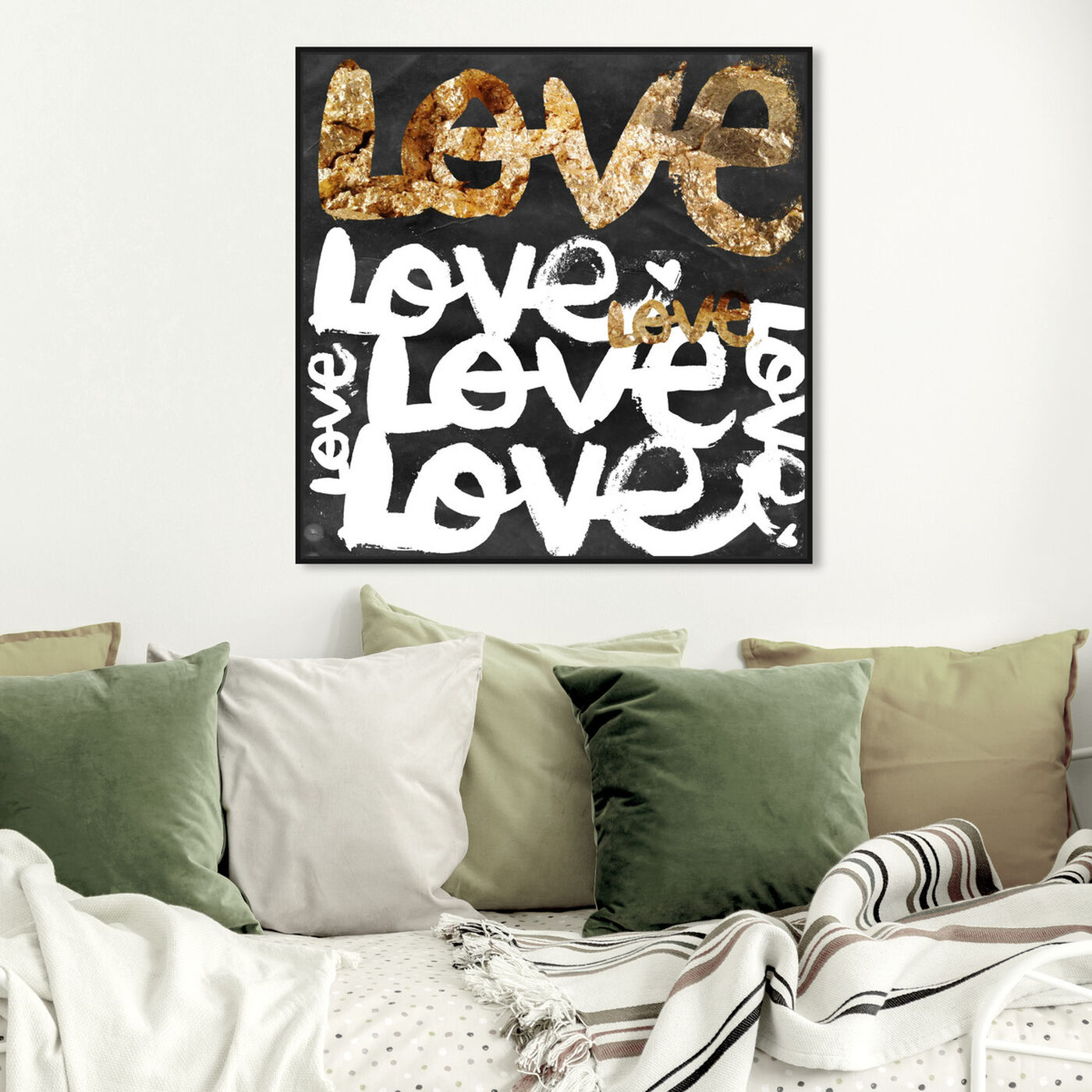 Hanging view of Four Letter Word Gold featuring typography and quotes and love quotes and sayings art.