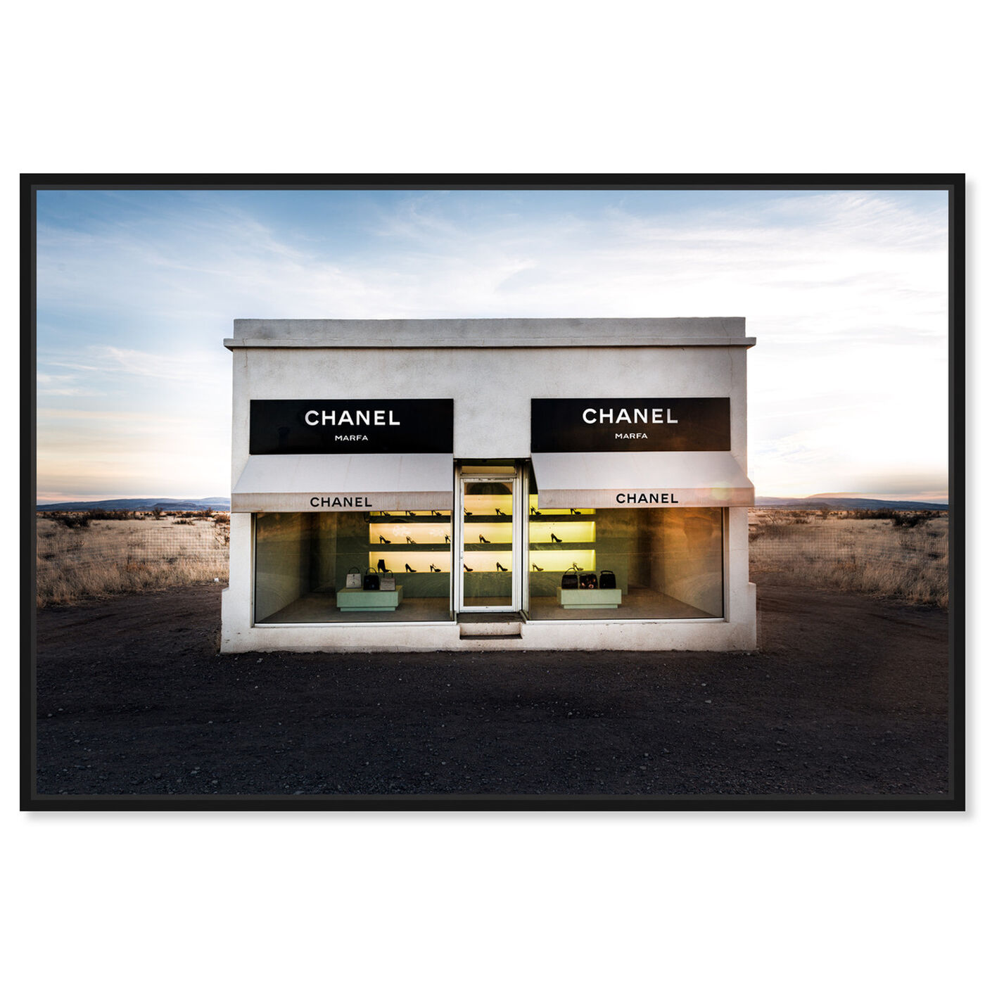 Front view of Store in Marfa featuring fashion and glam and road signs art.